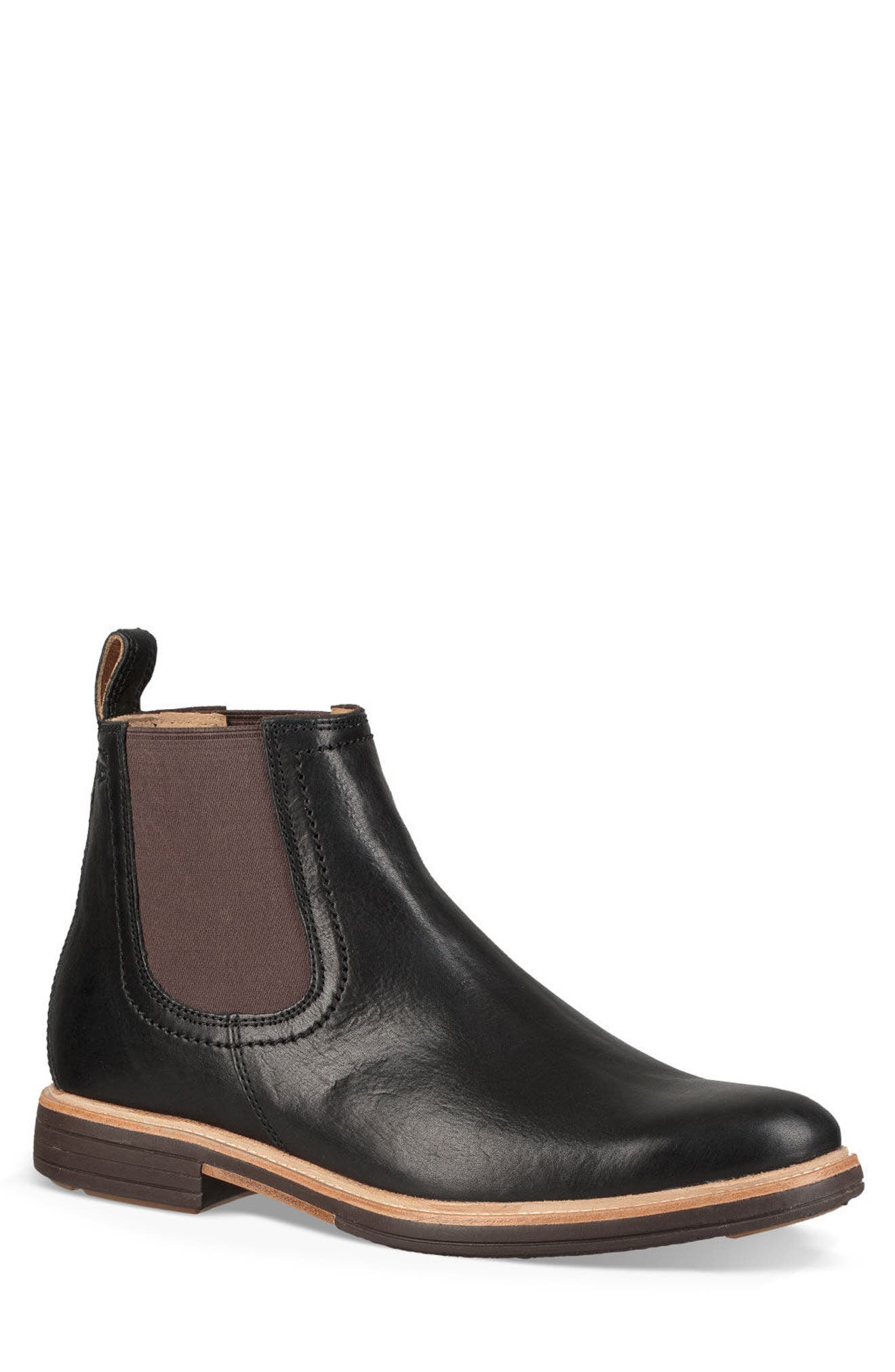 UGG<SUP>®</SUP>, Baldvin Chelsea Boot, Main thumbnail 1, color, BLACK LEATHER/SUEDE