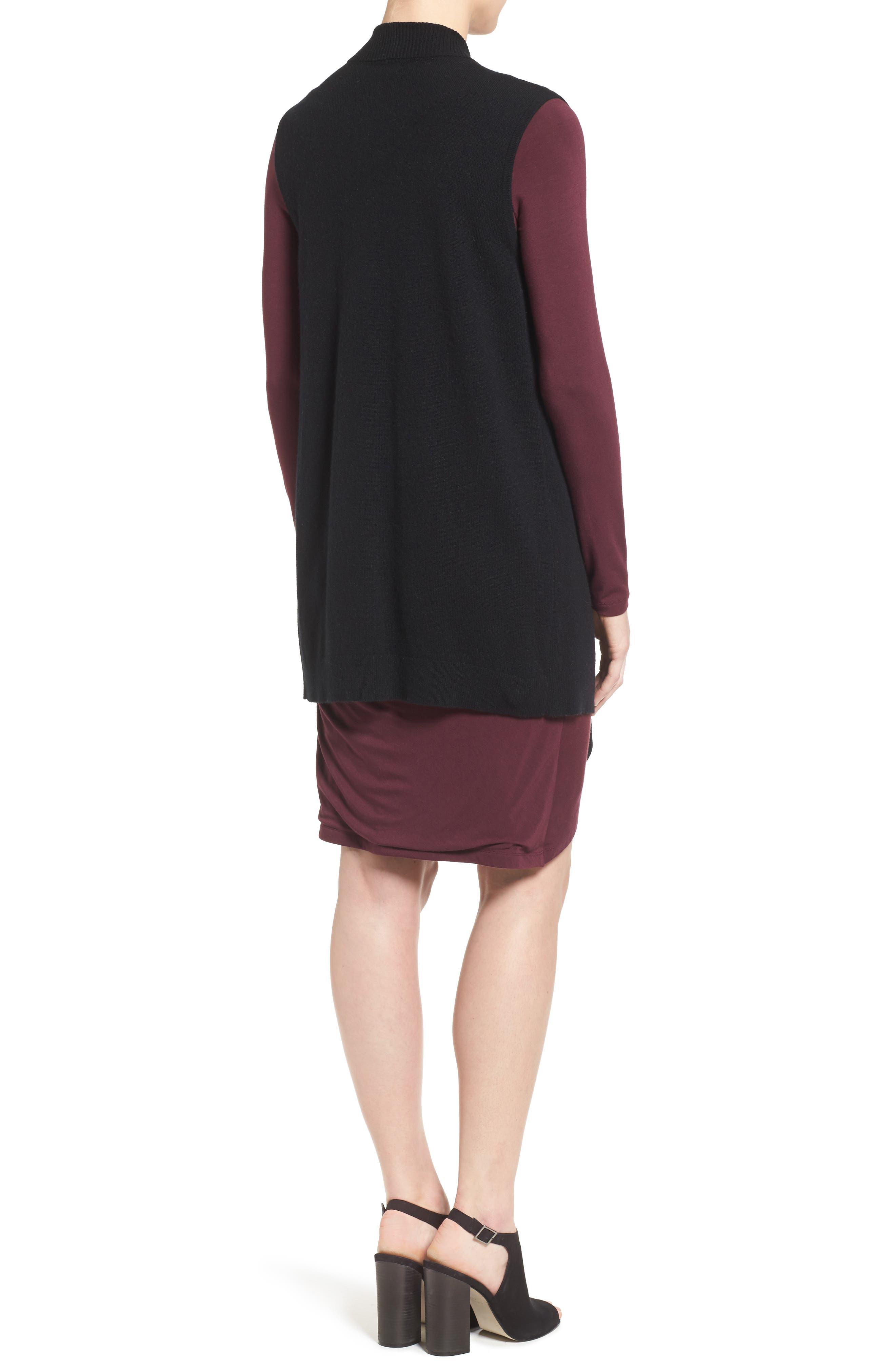 HALOGEN<SUP>®</SUP>, Wool & Cashmere Drape Front Sweater Vest, Alternate thumbnail 2, color, BLACK