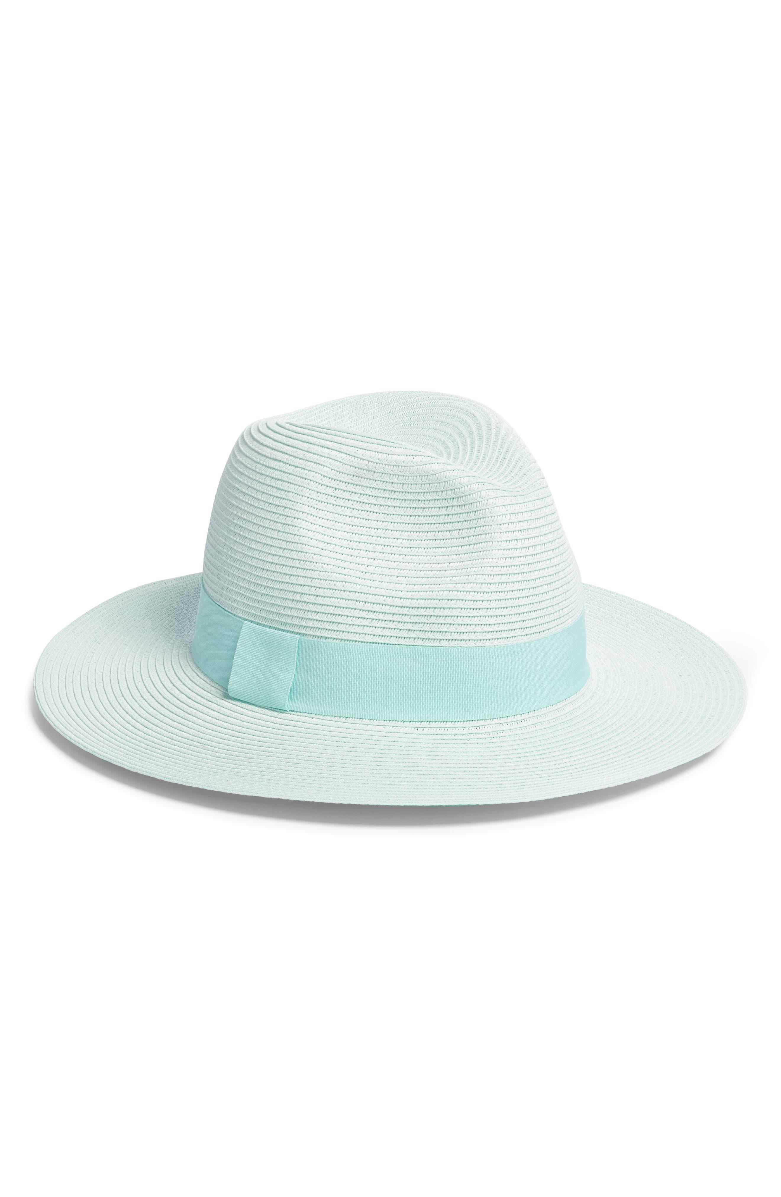 SOMETHING NAVY Woven Panama Hat, Main, color, GREEN AQUA
