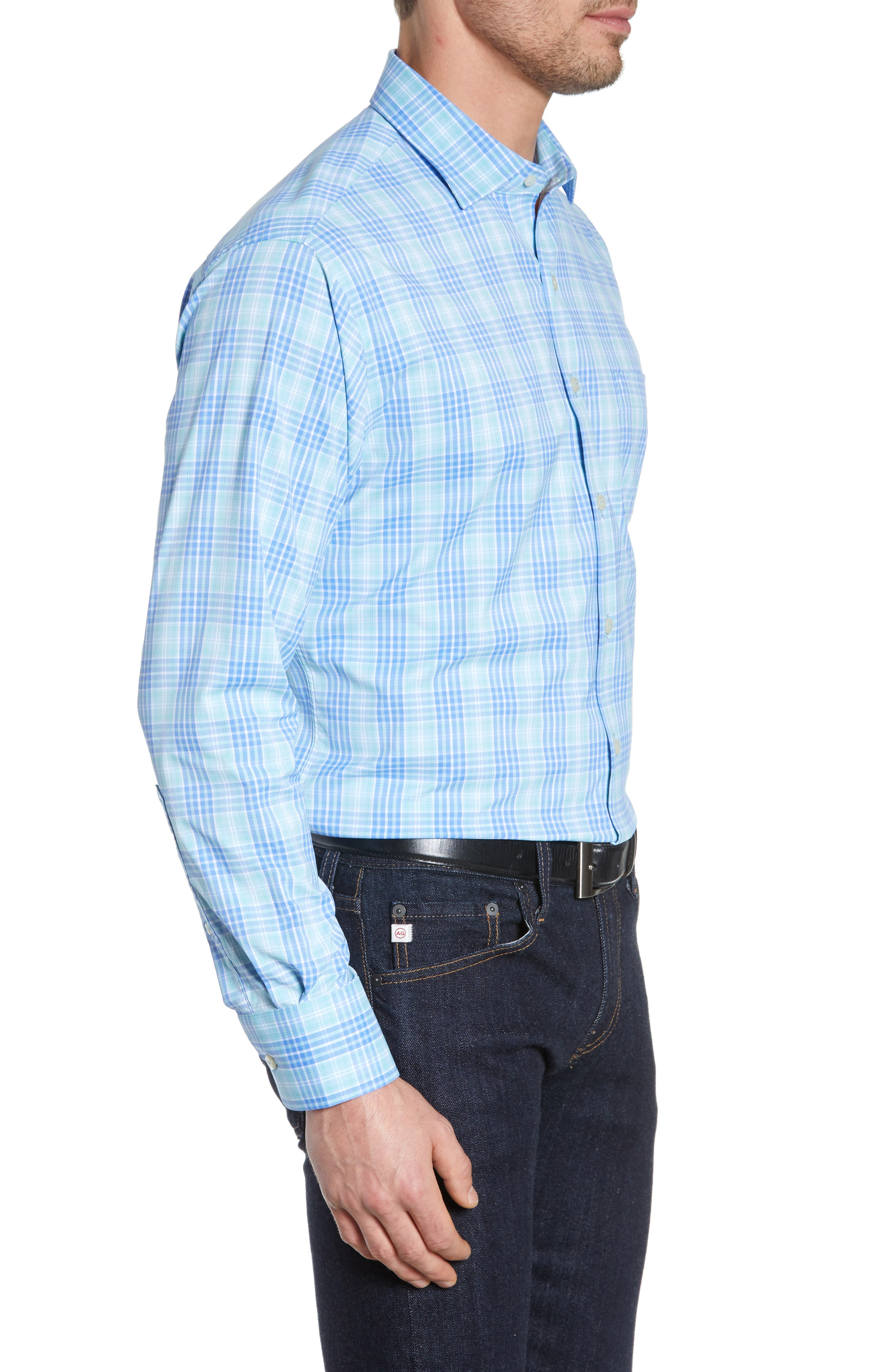 PETER MILLAR, Waterson Plaid Performance Sport Shirt, Alternate thumbnail 4, color, OASIS