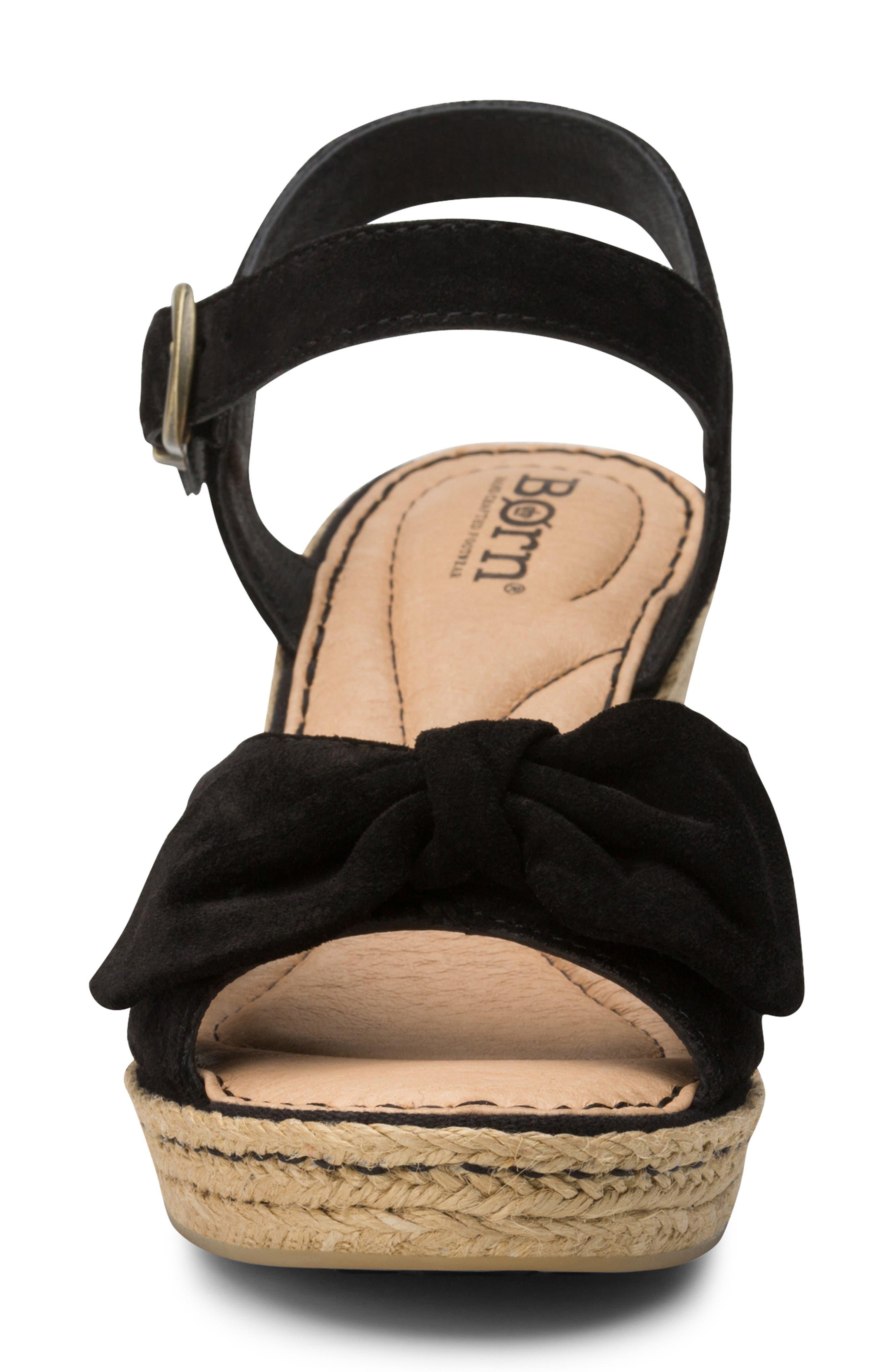 BØRN, Monticello Knotted Wedge Sandal, Alternate thumbnail 4, color, BLACK SUEDE