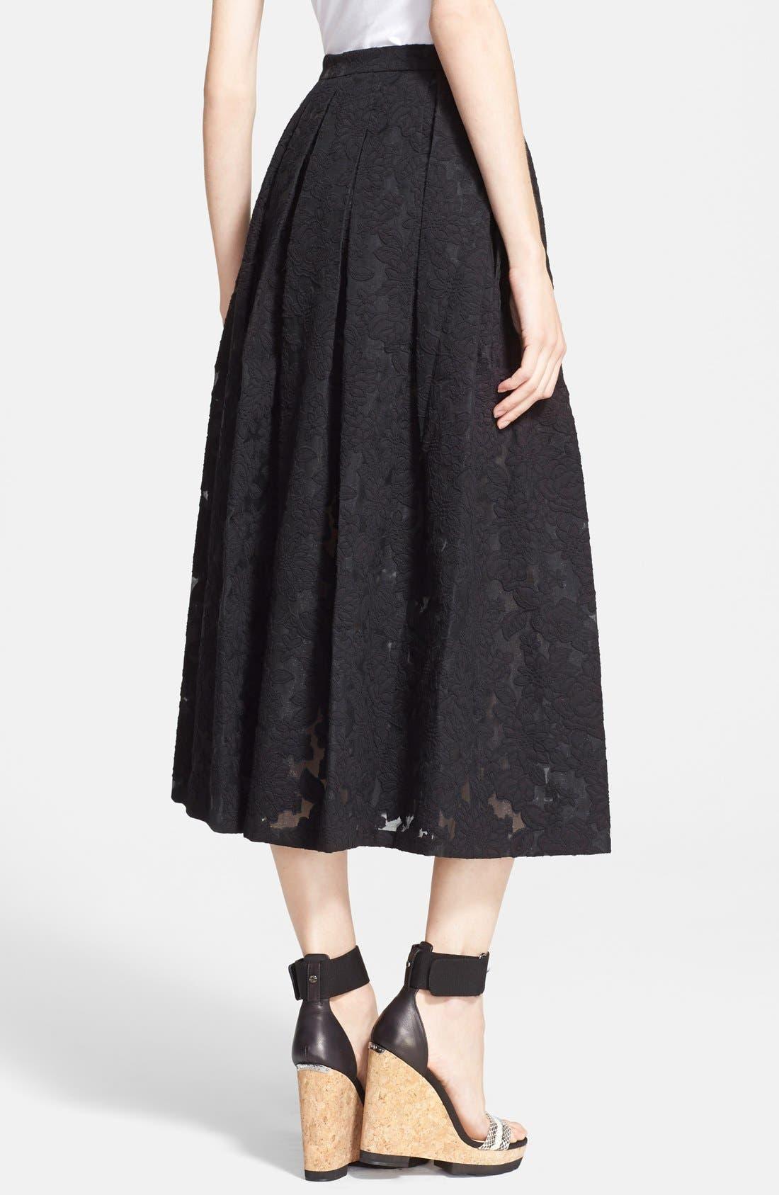 MICHAEL KORS, Floral Embroidered Pleated Midi Skirt, Alternate thumbnail 4, color, 001