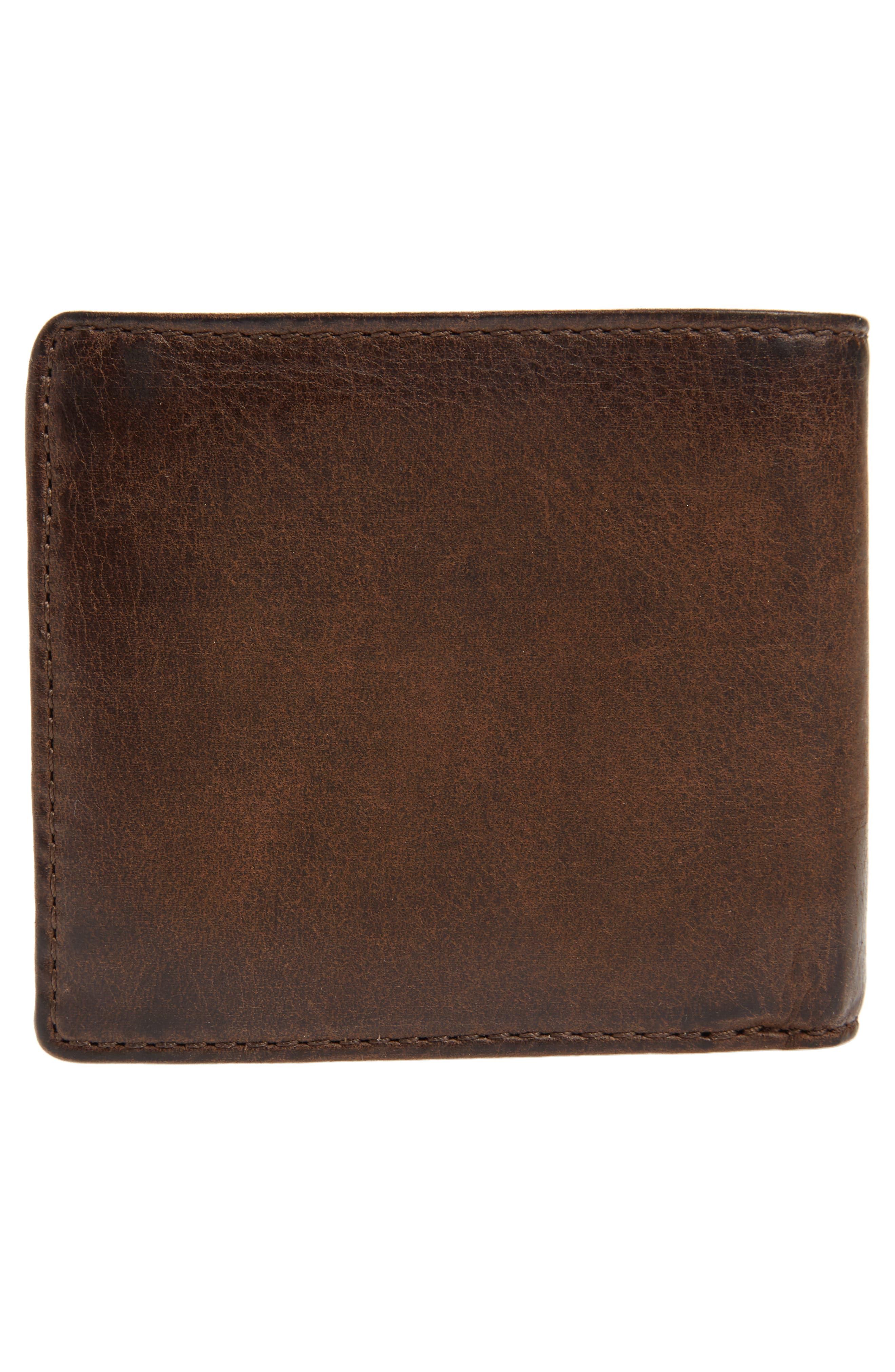 FRYE, Oliver Leather Wallet, Alternate thumbnail 2, color, DARK BROWN