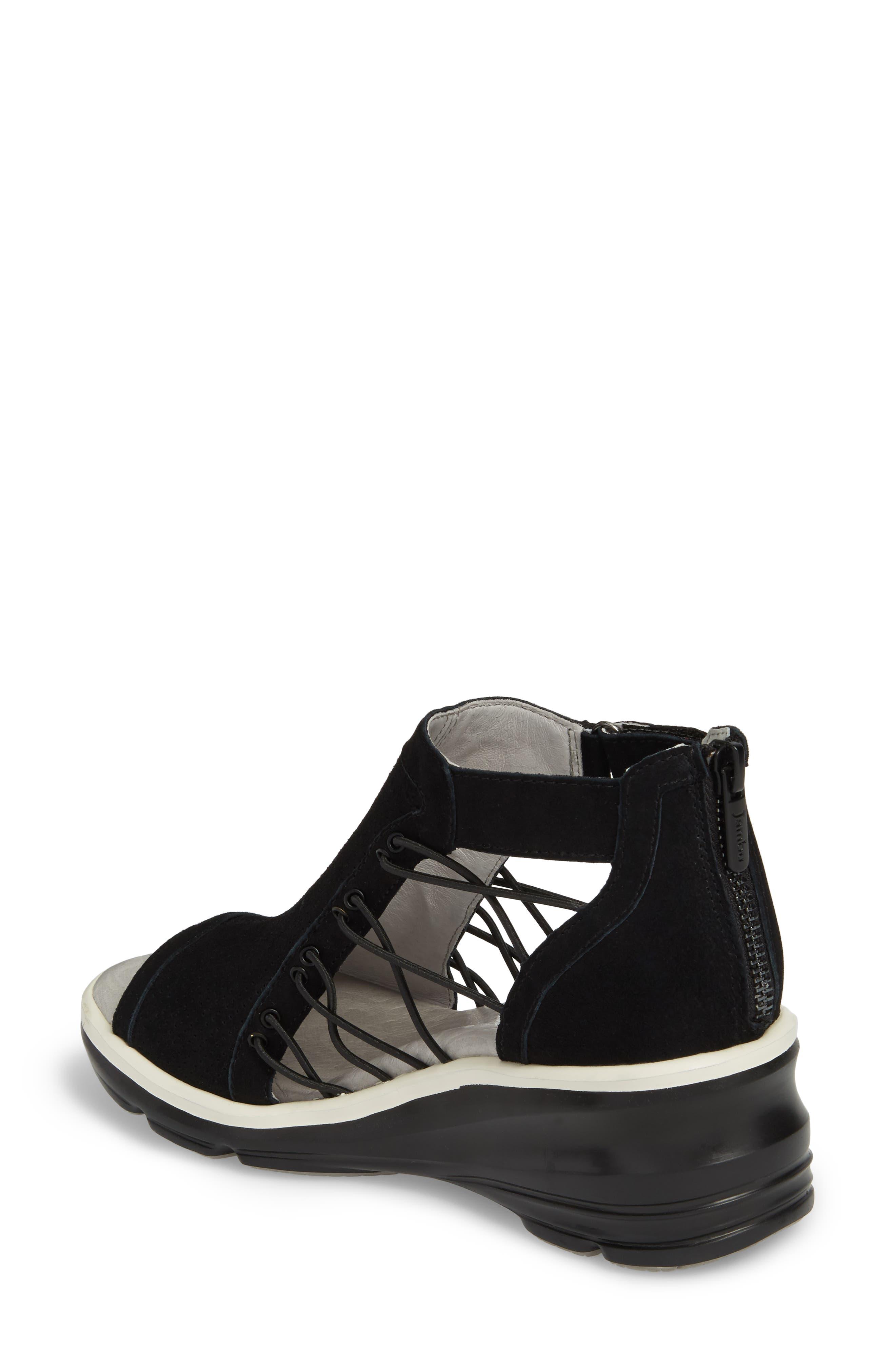 JAMBU, Naomi Perforated Wedge Sandal, Alternate thumbnail 2, color, BLACK SUEDE