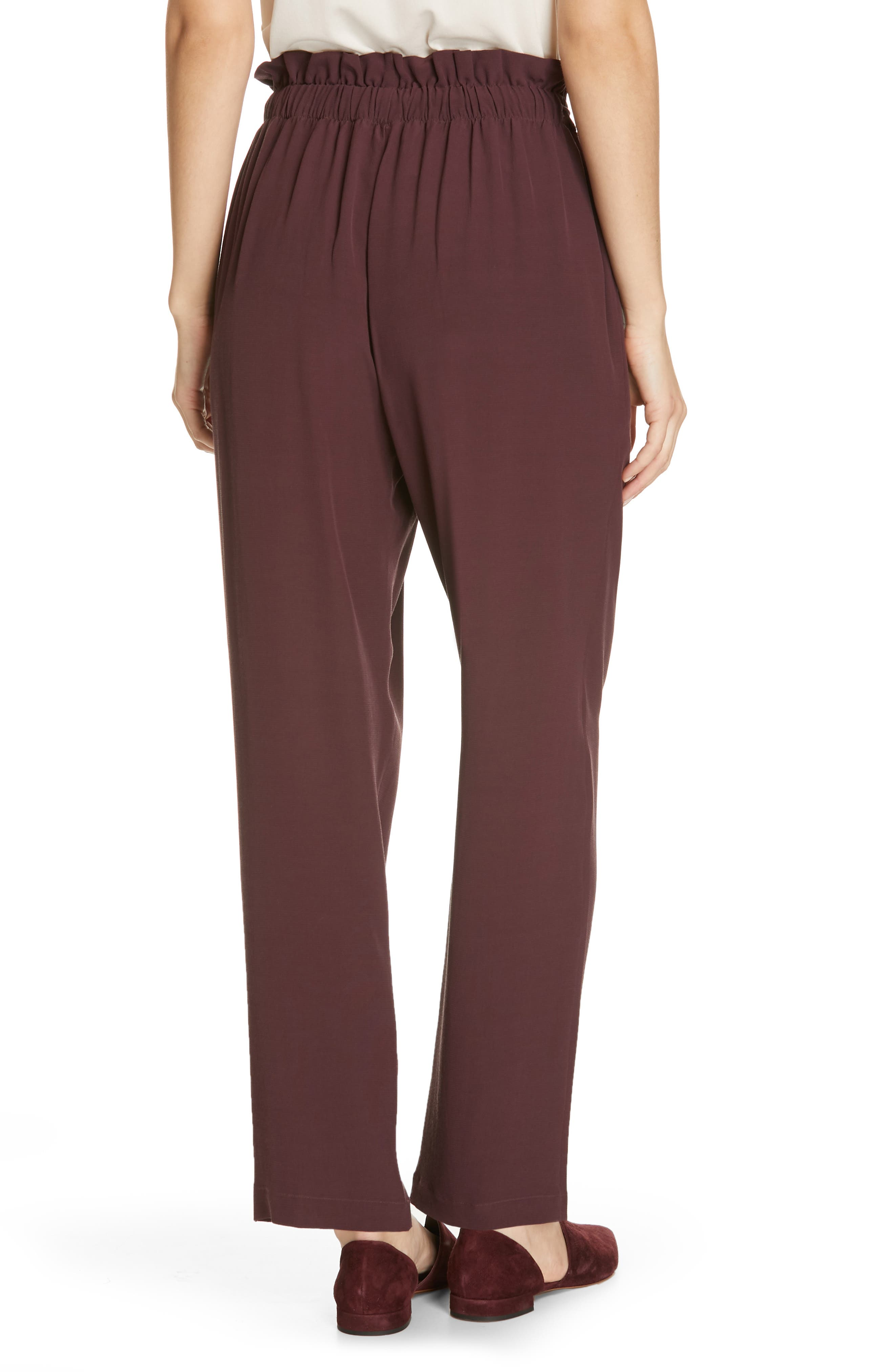 EILEEN FISHER, Crepe Pants, Alternate thumbnail 2, color, CASSIS