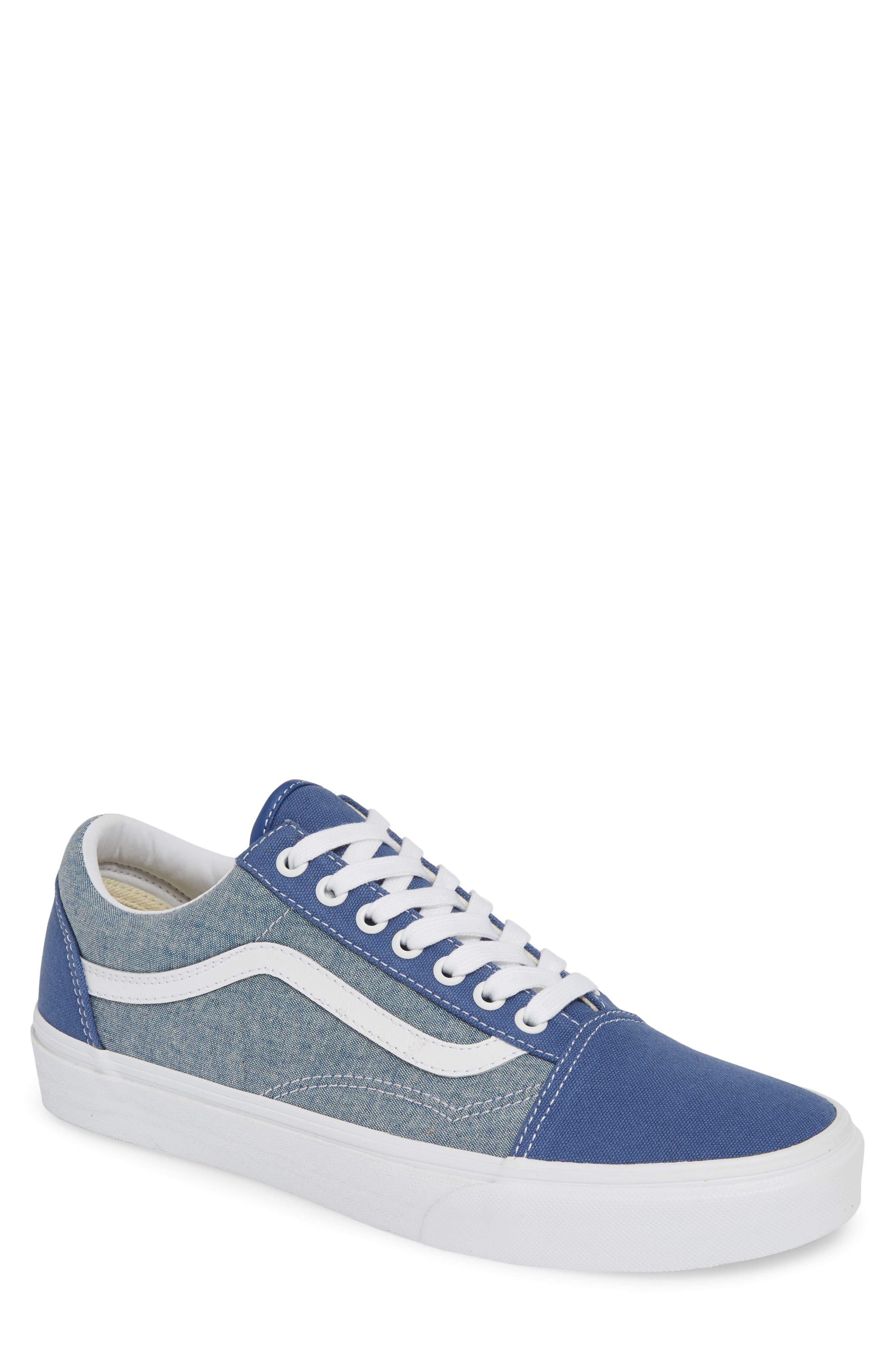 VANS, Old Skool Sneaker, Main thumbnail 1, color, CANVAS NAVY/ WHITE CHAMBRAY