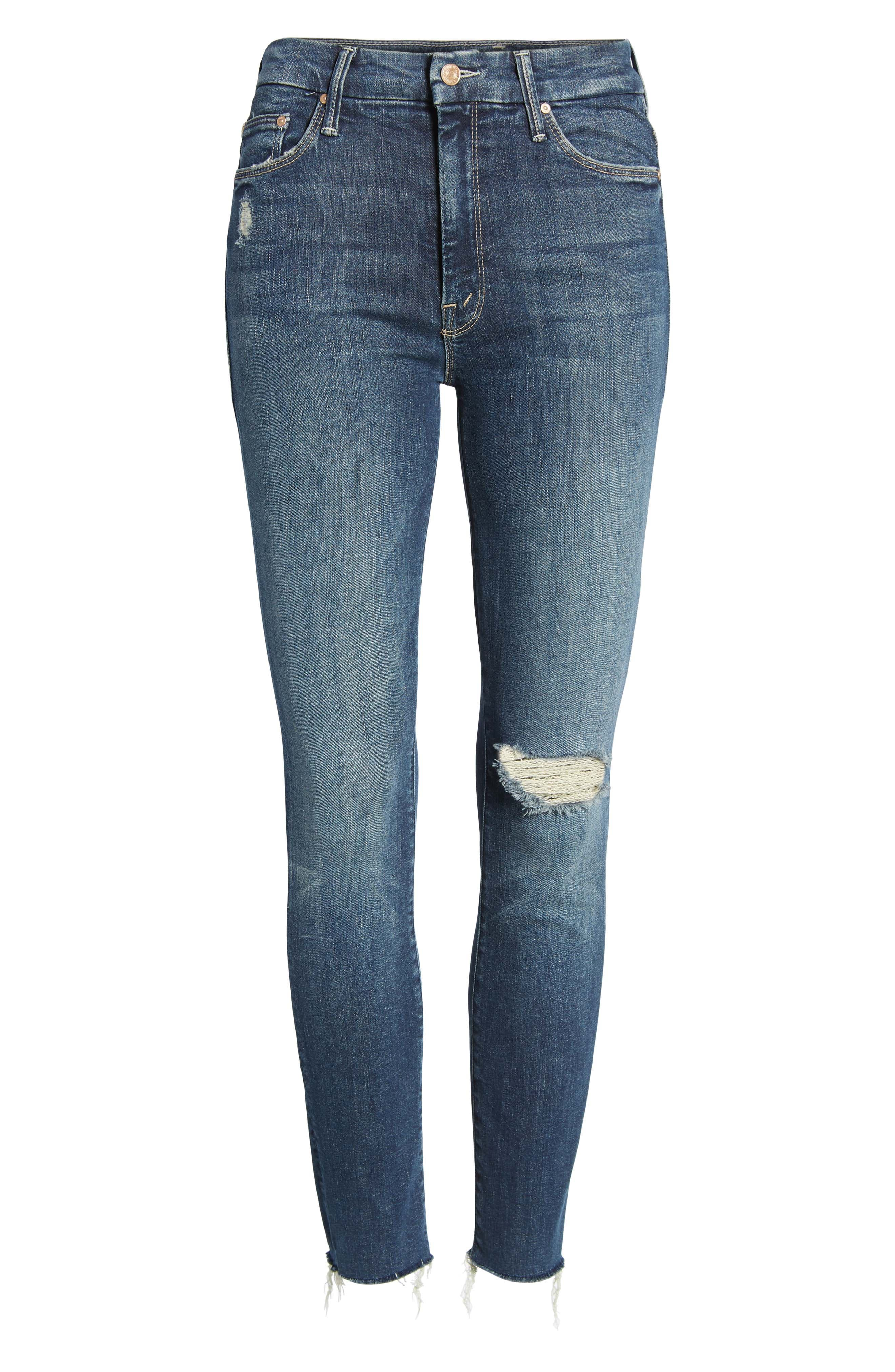 MOTHER, The Looker High Waist Frayed Ankle Skinny Jeans, Alternate thumbnail 7, color, CLOSE TO THE EDGE