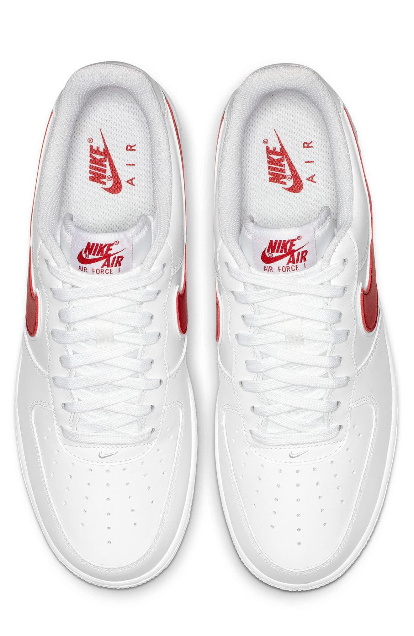NIKE, Air Force 1 '07 3 Sneaker, Alternate thumbnail 3, color, WHITE/ GYM RED