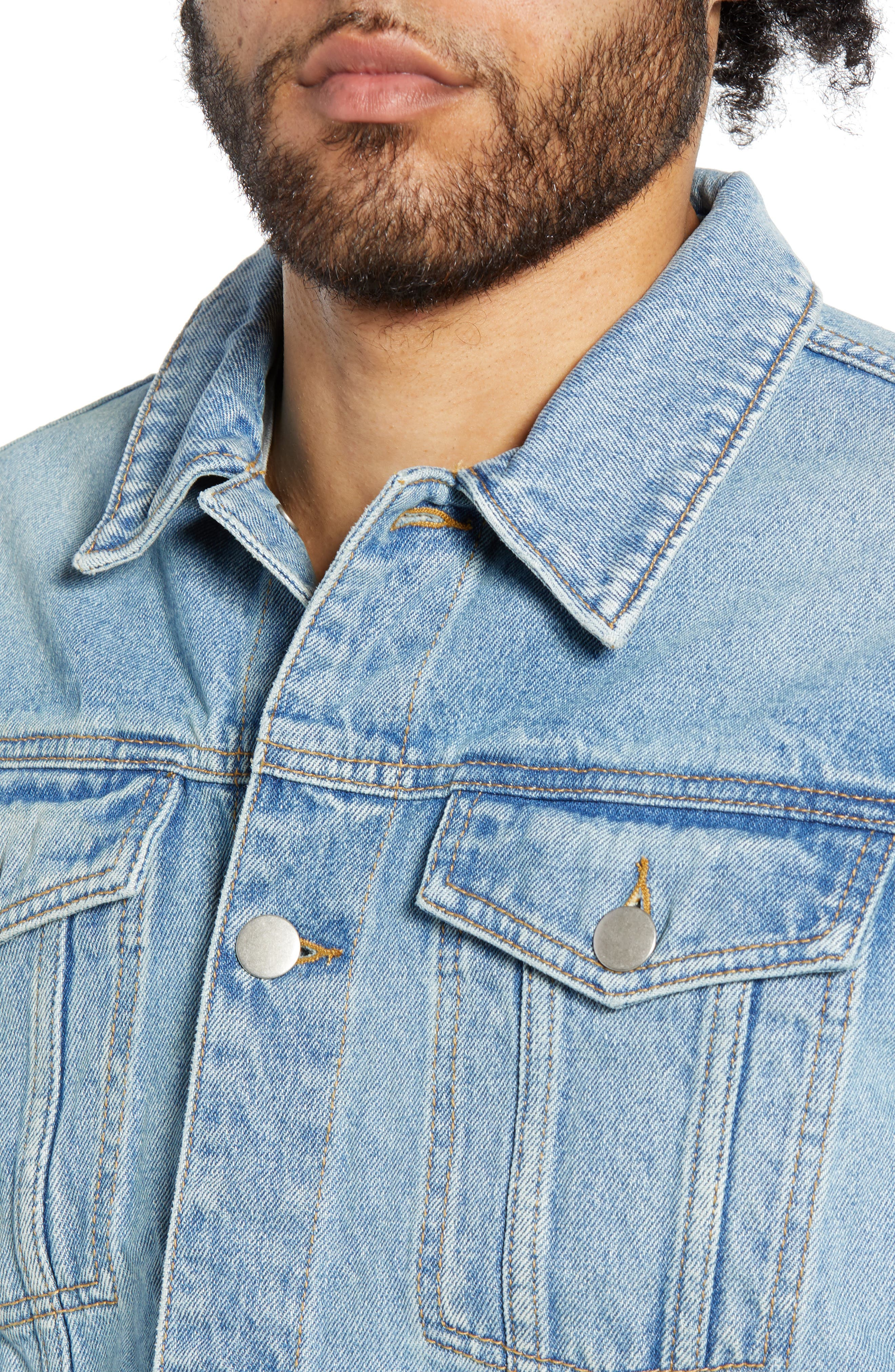 THE RAIL, Denim Jacket, Alternate thumbnail 5, color, BLUE TREK WASH