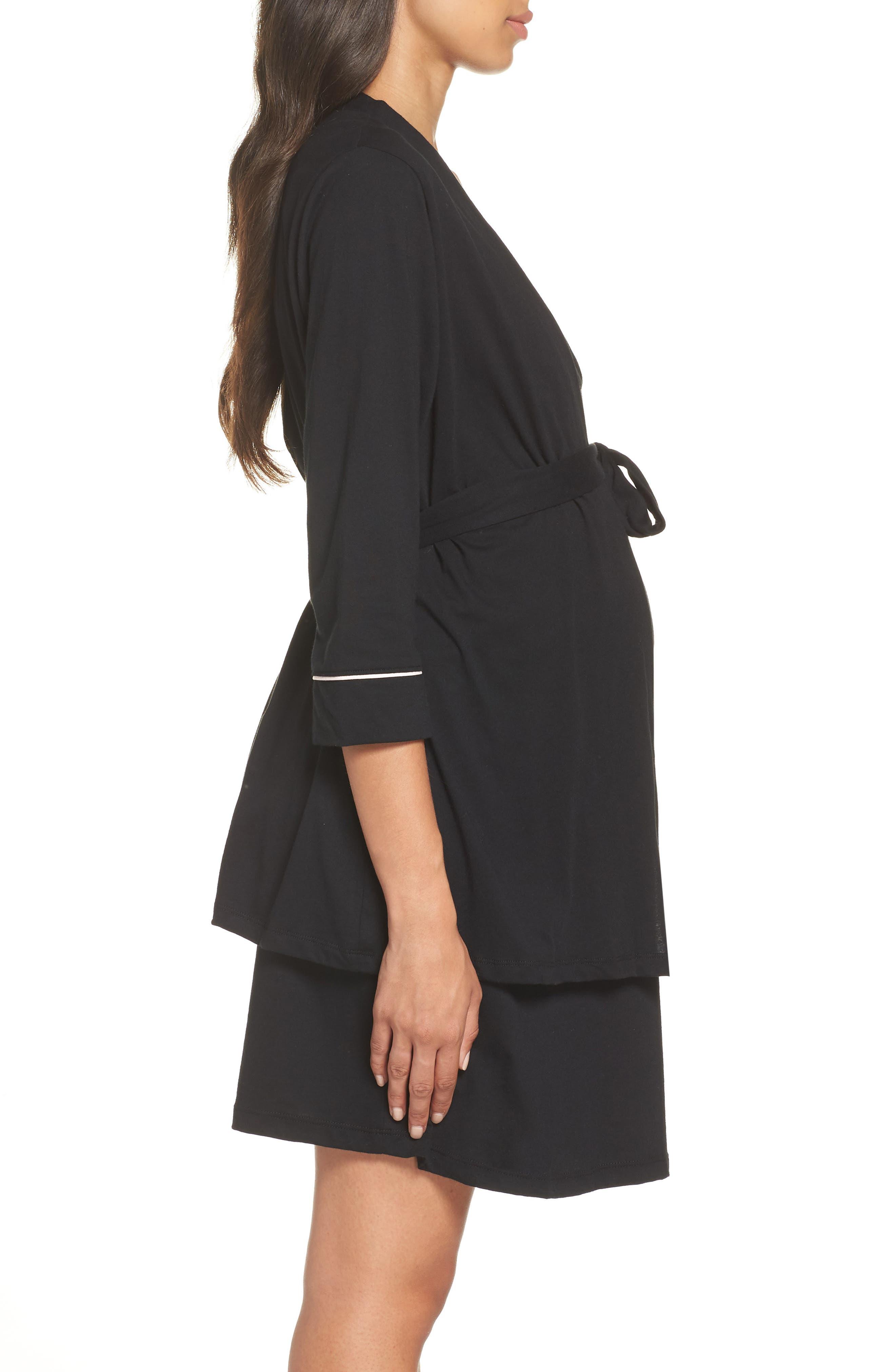BELABUMBUM, Maternity/Nursing Robe & Chemise, Alternate thumbnail 4, color, BLACK