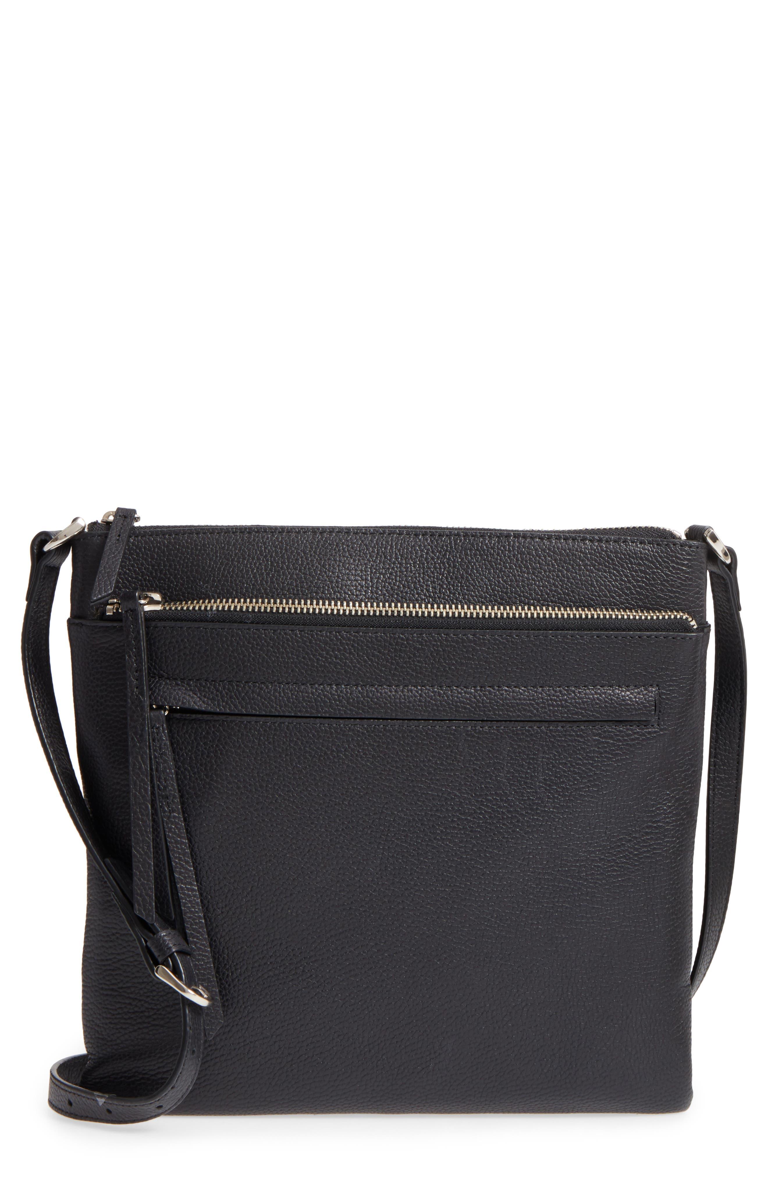NORDSTROM, Finn Leather Crossbody Bag, Main thumbnail 1, color, BLACK