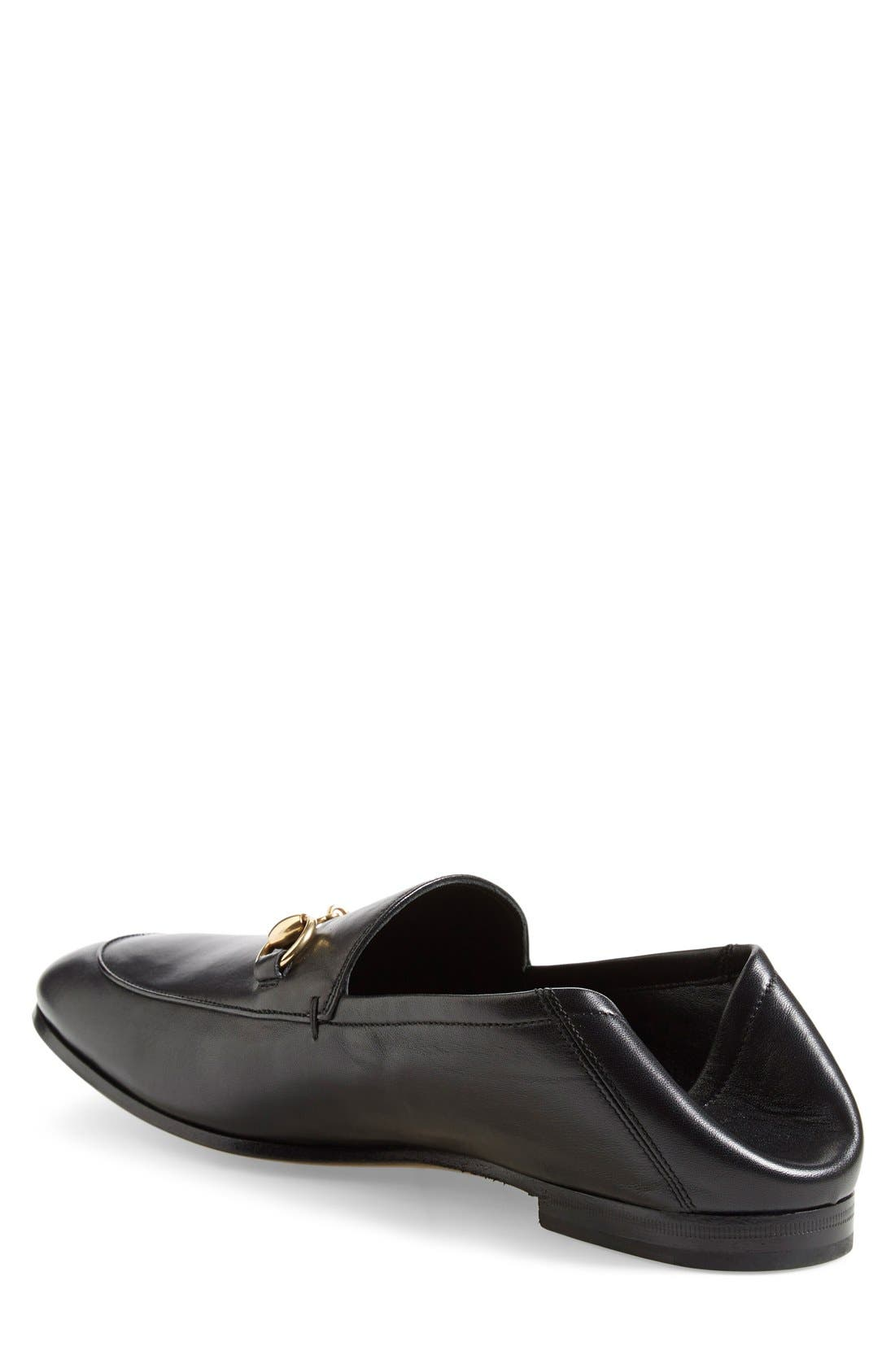 GUCCI, Brixton Leather Loafer, Alternate thumbnail 4, color, NERO LEATHER