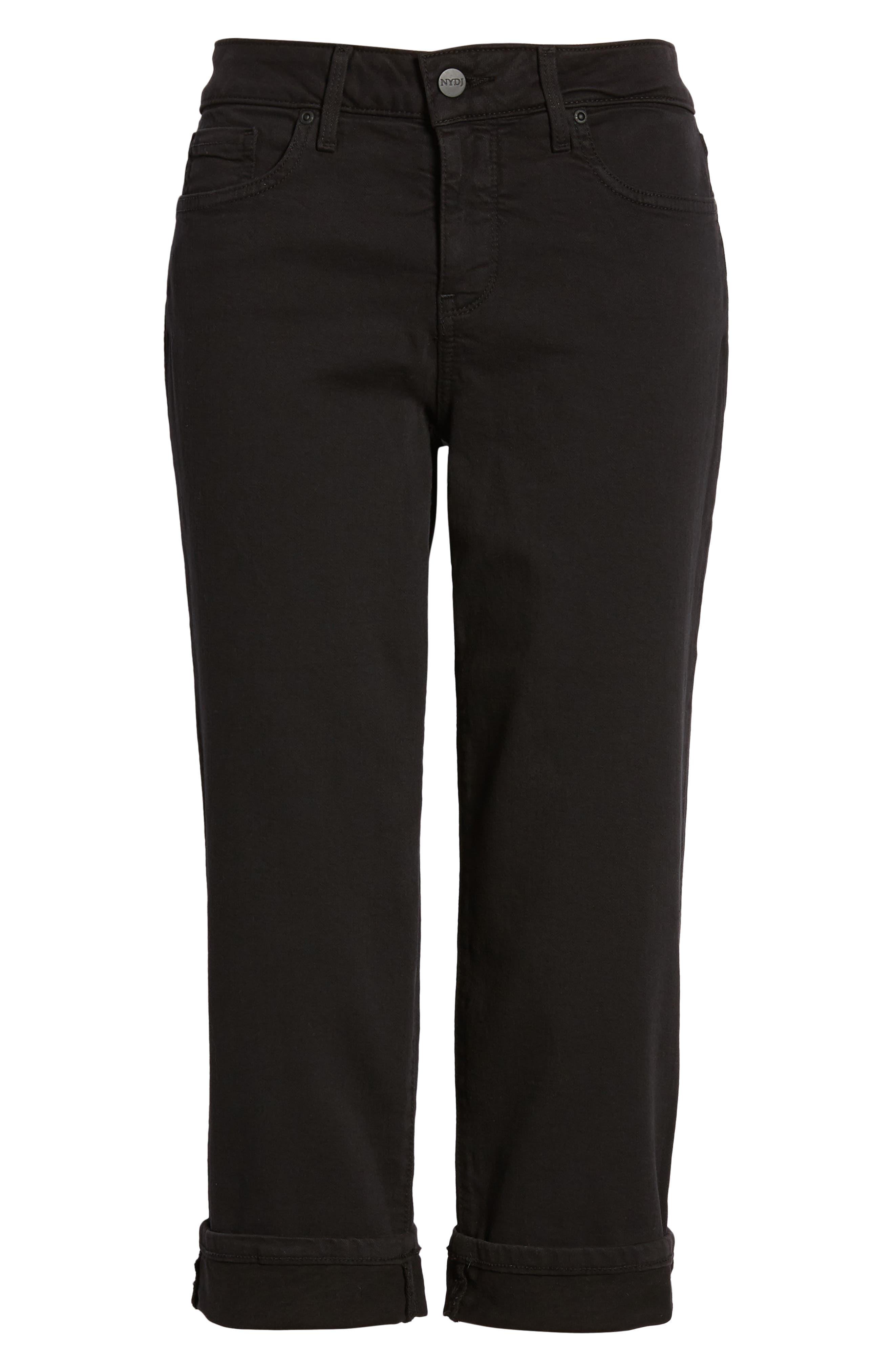 NYDJ, Marilyn Crop Jeans, Alternate thumbnail 5, color, BLACK