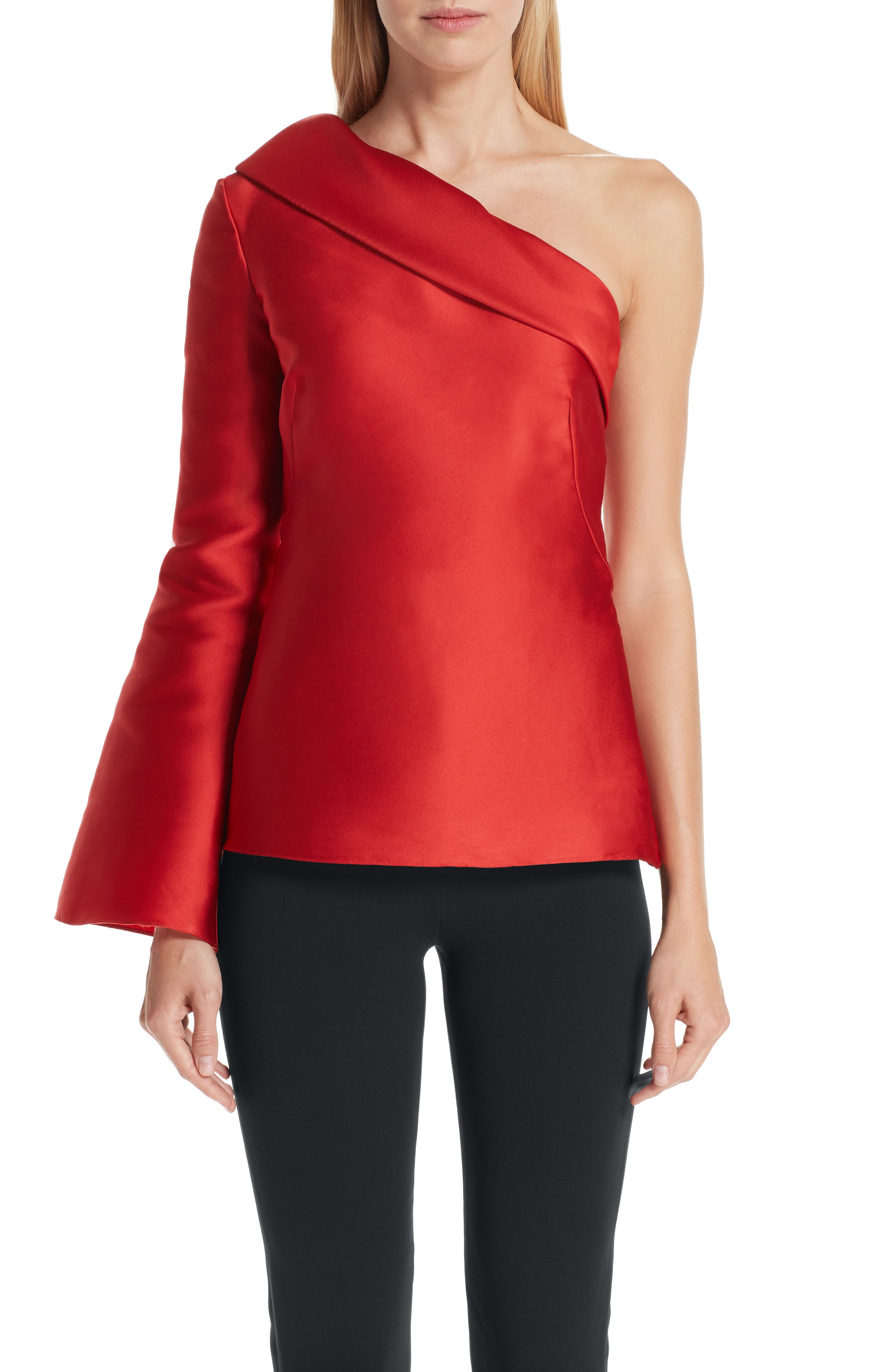 BRANDON MAXWELL, Fold Over One-Shoulder Top, Main thumbnail 1, color, POPPY