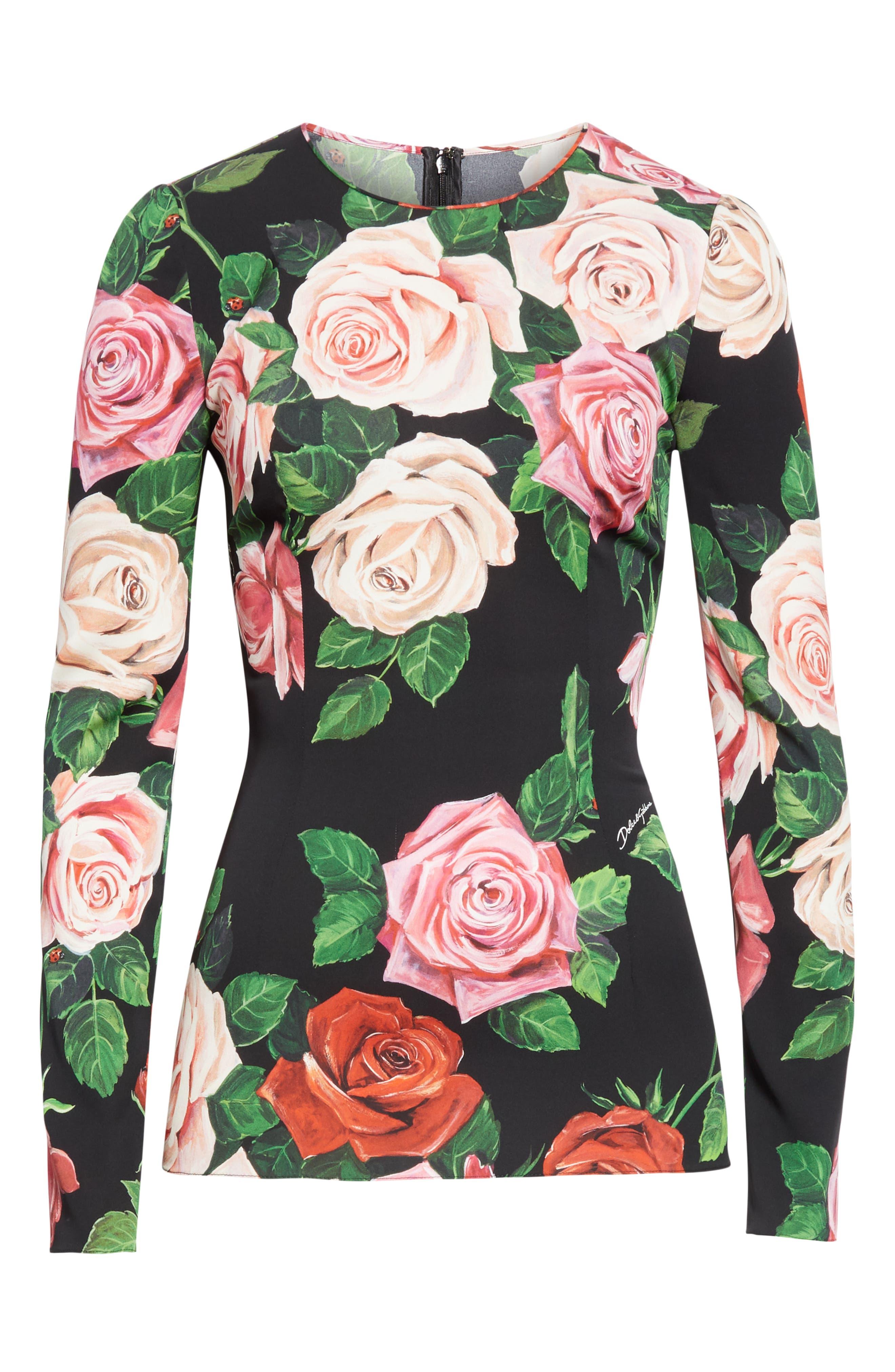 DOLCE&GABBANA, Rose Print Stretch Silk Top, Alternate thumbnail 6, color, BLACK ROSE