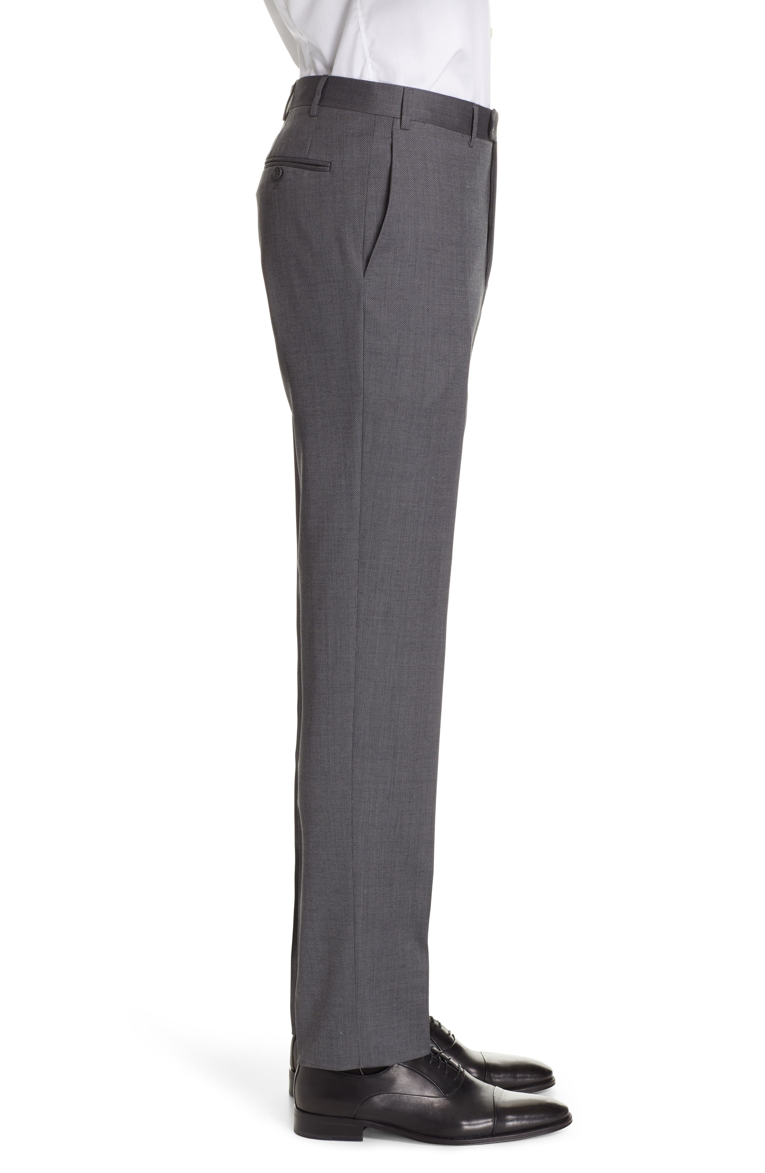 CANALI, Flat Front Solid Wool Trousers, Alternate thumbnail 3, color, CHARCOAL