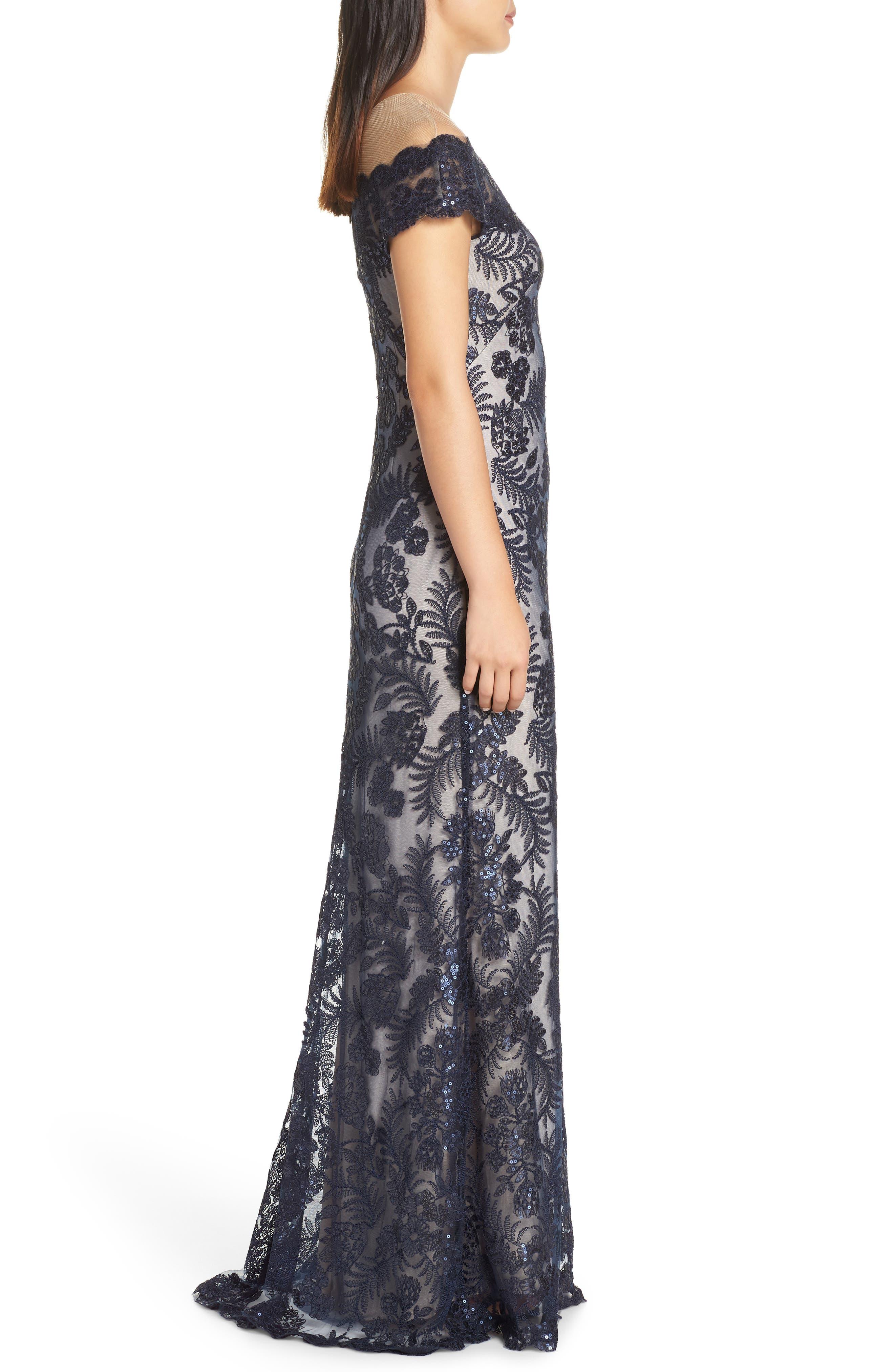 TADASHI SHOJI, Illusion Neck Sequin Lace Gown, Alternate thumbnail 5, color, 410