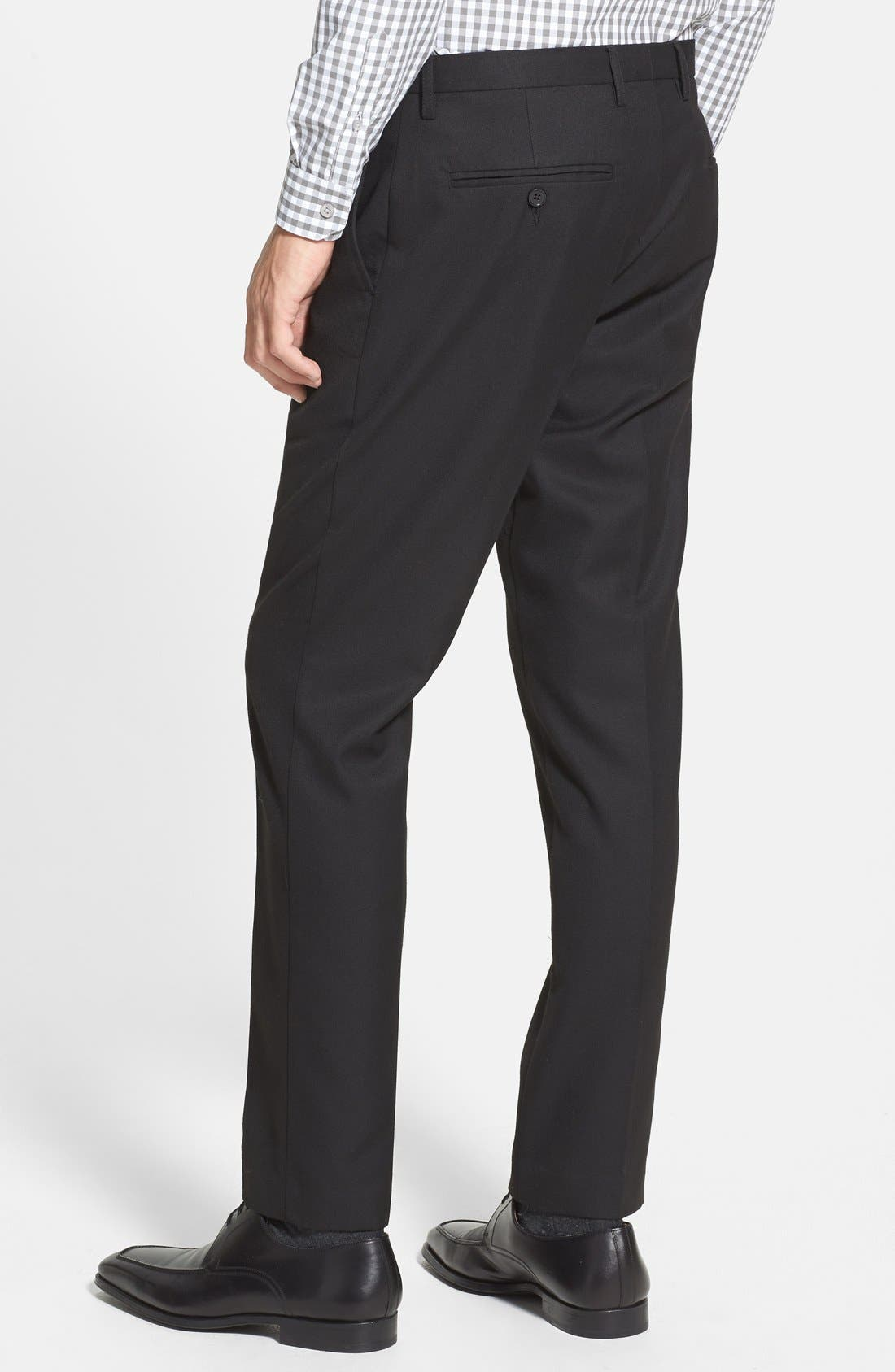 TOPMAN, Skinny Fit Cotton Flannel Trousers, Alternate thumbnail 3, color, 001