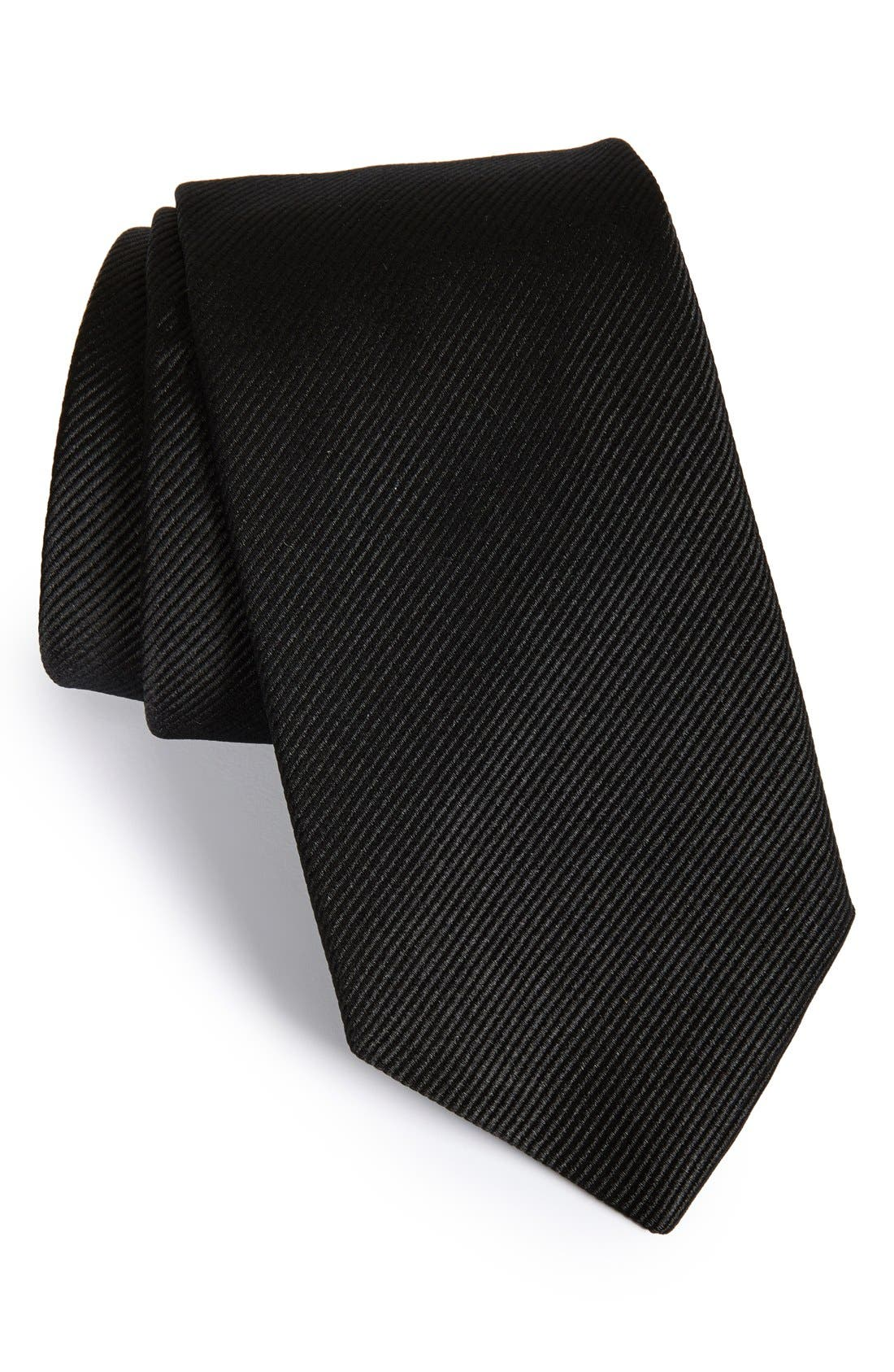 GITMAN Solid Silk Tie, Main, color, BLACK