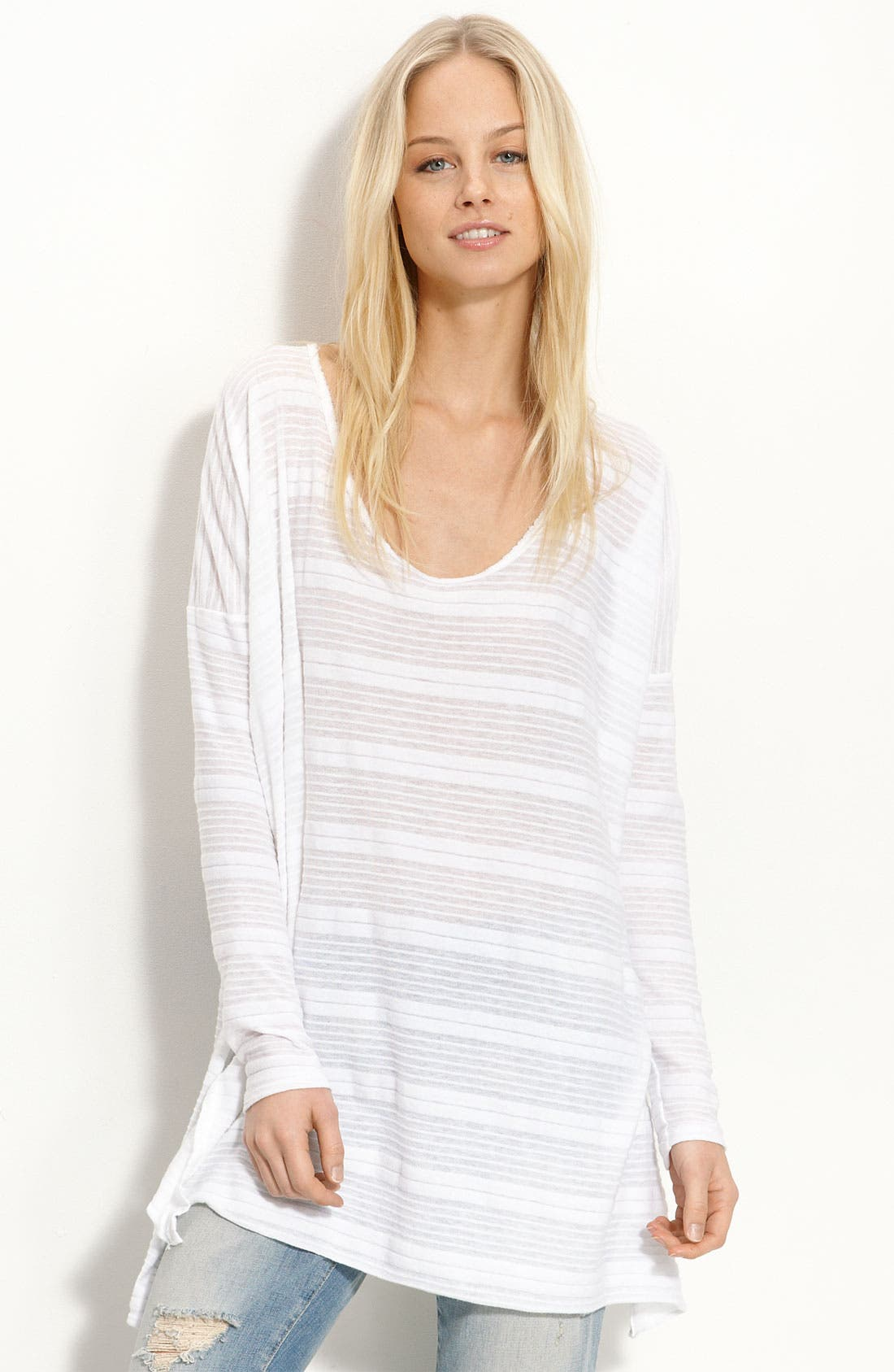 FREE PEOPLE, 'Solid Jammy Jam' Long Sleeve Tee, Main thumbnail 1, color, 100