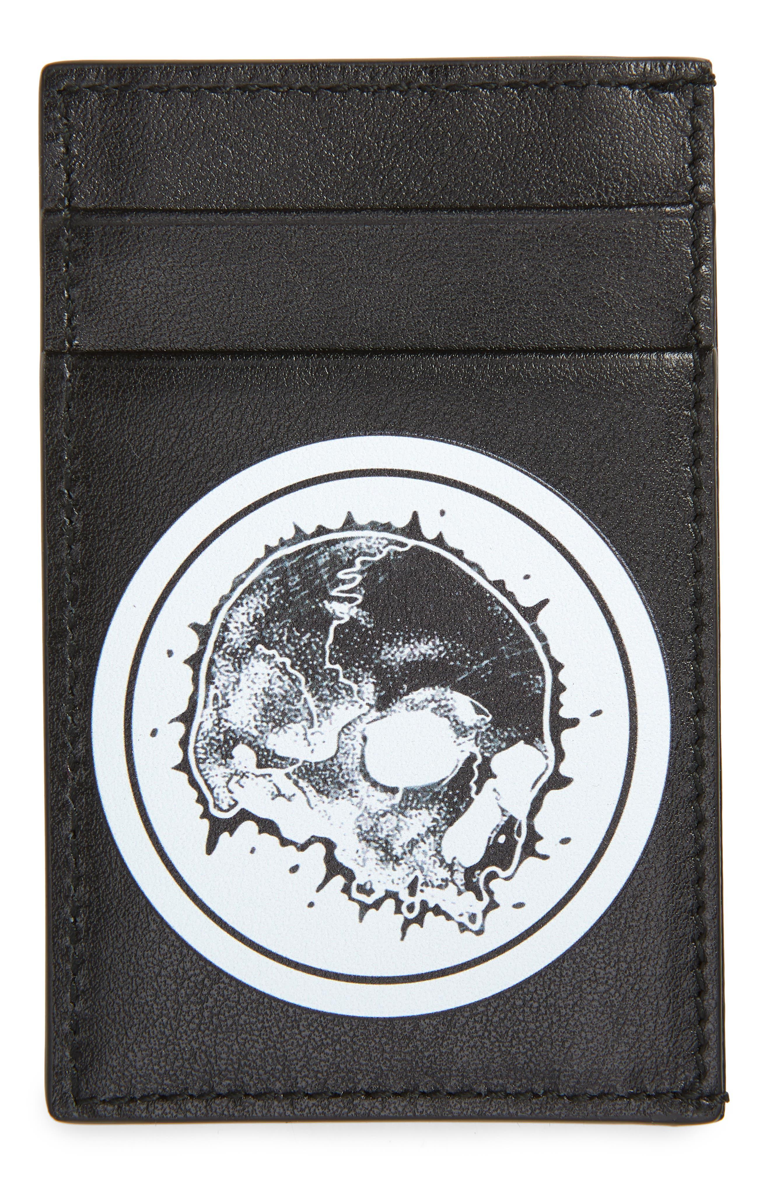 ALEXANDER MCQUEEN, Skull Leather Card Case, Main thumbnail 1, color, BLACK/ WHITE