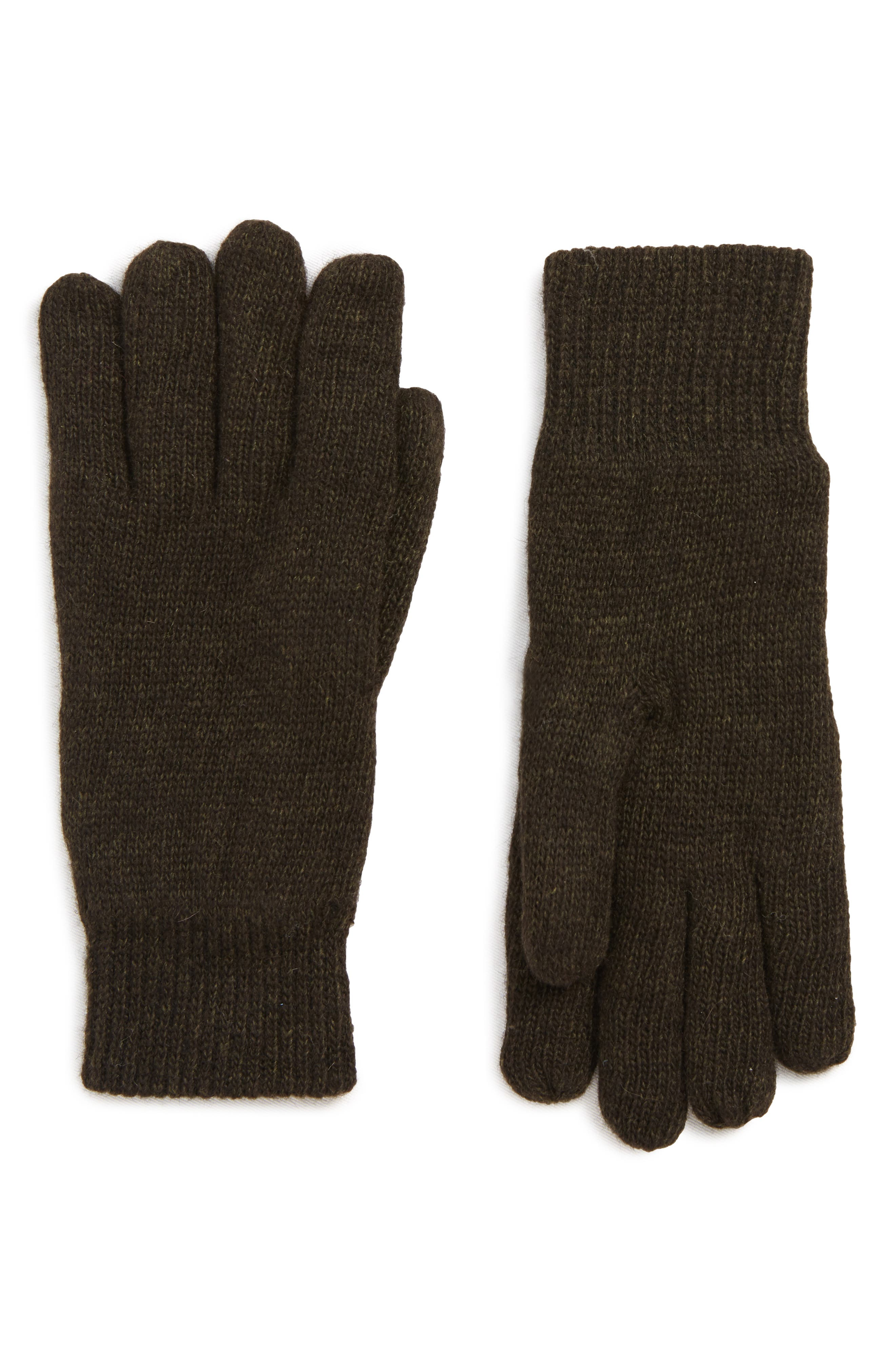 BARBOUR Carlton Stretch Wool Gloves, Main, color, GREEN