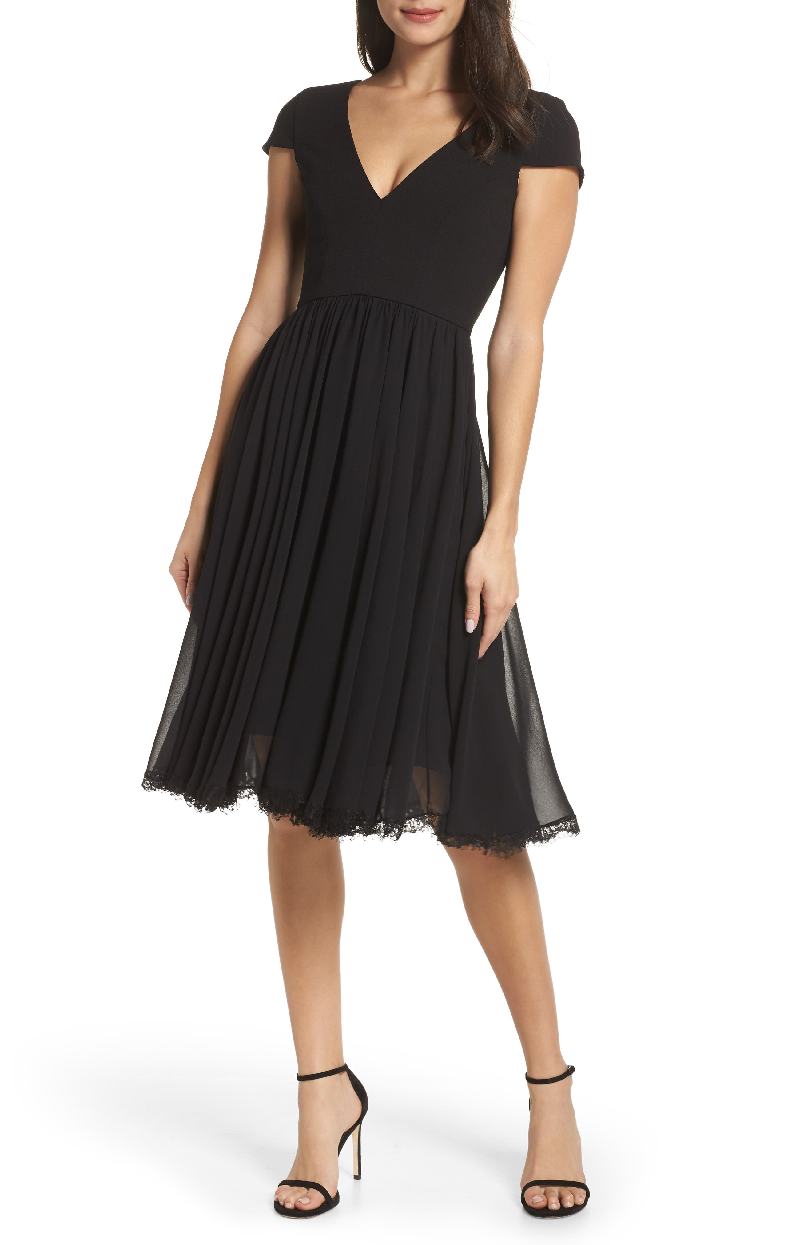 DRESS THE POPULATION Corey Chiffon Fit & Flare Dress, Main, color, BLACK