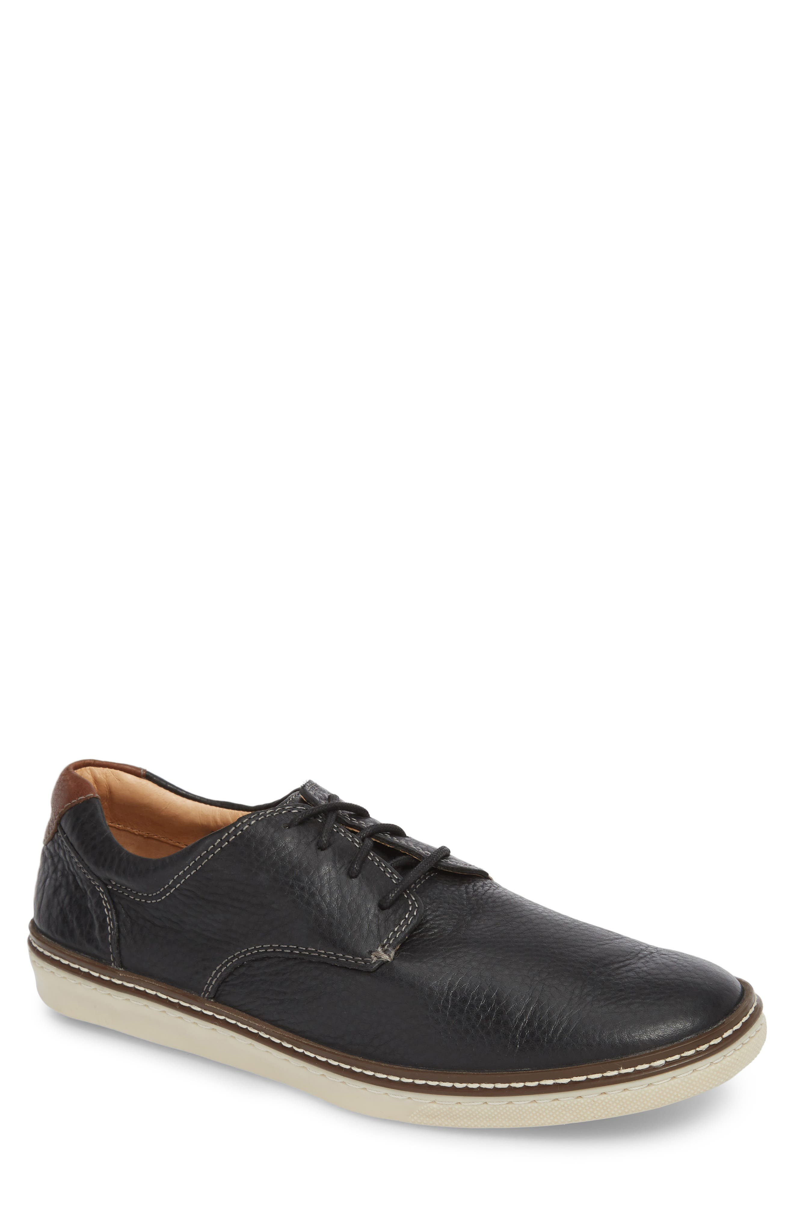 JOHNSTON & MURPHY, McGuffey Derby Sneaker, Main thumbnail 1, color, BLACK LEATHER