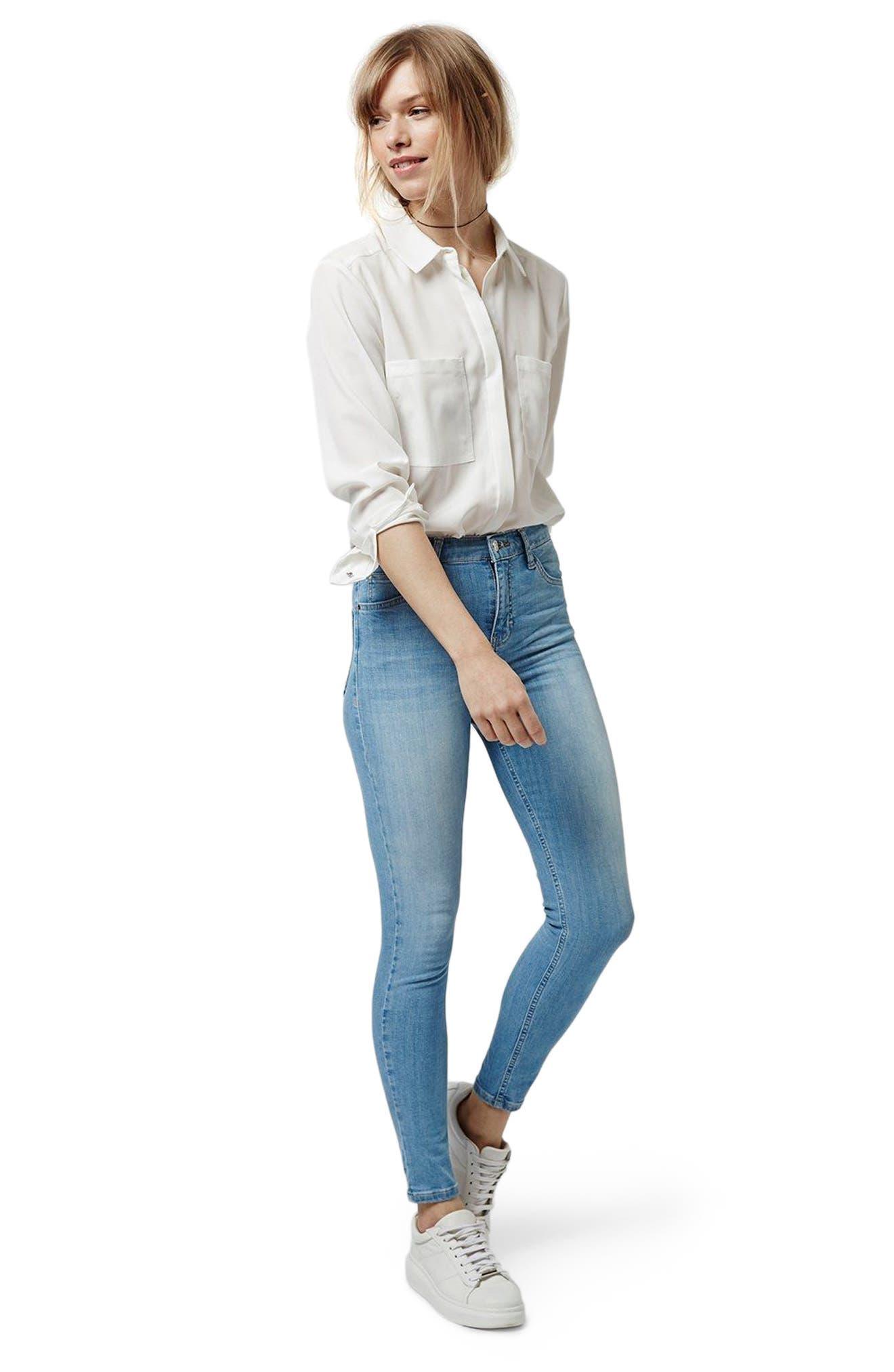 TOPSHOP, Moto Jamie High Waist Skinny Jeans, Alternate thumbnail 6, color, 450