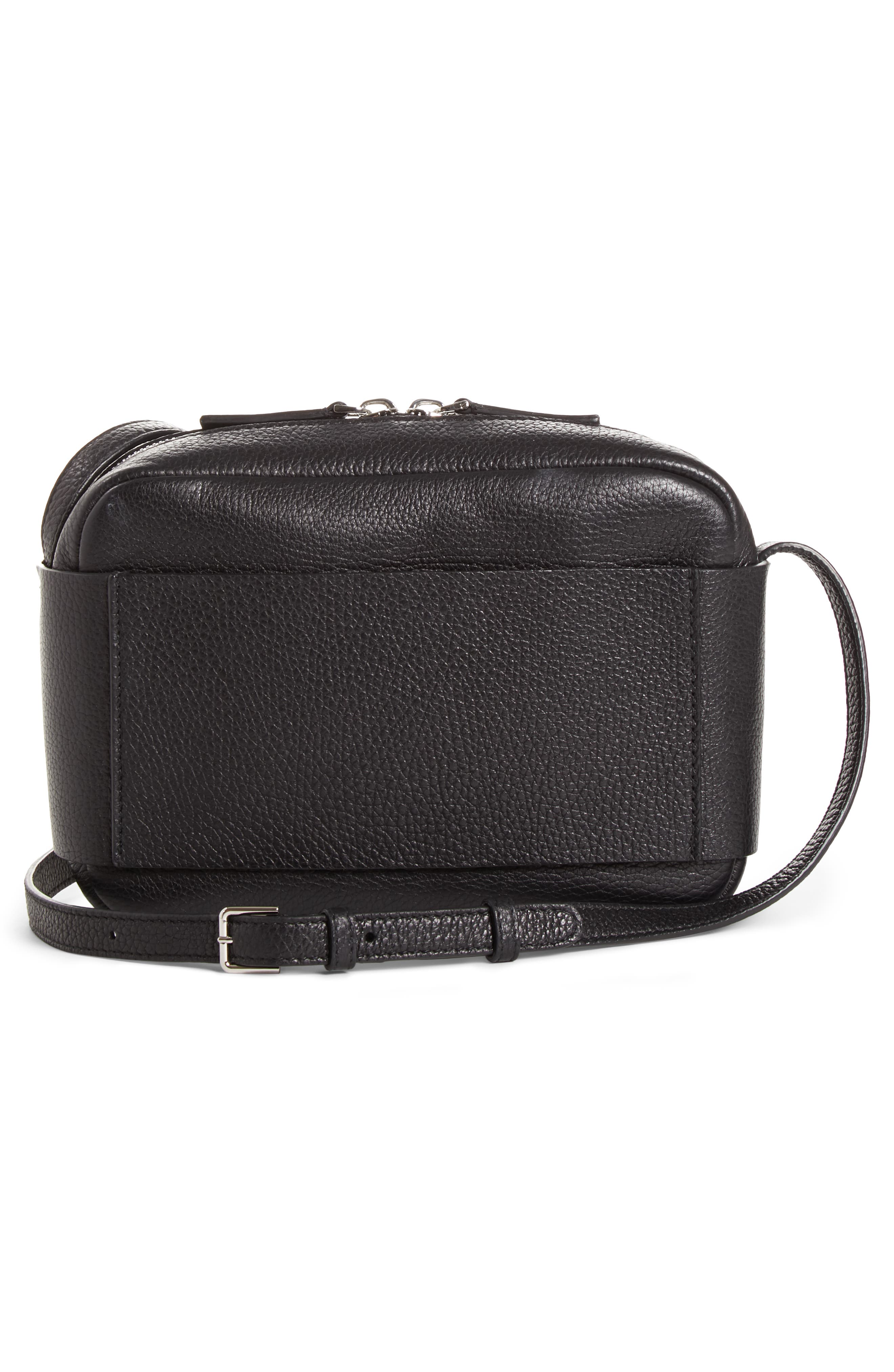 CALVIN KLEIN 205W39NYC, Belle Leather Camera Bag, Alternate thumbnail 3, color, BLACK