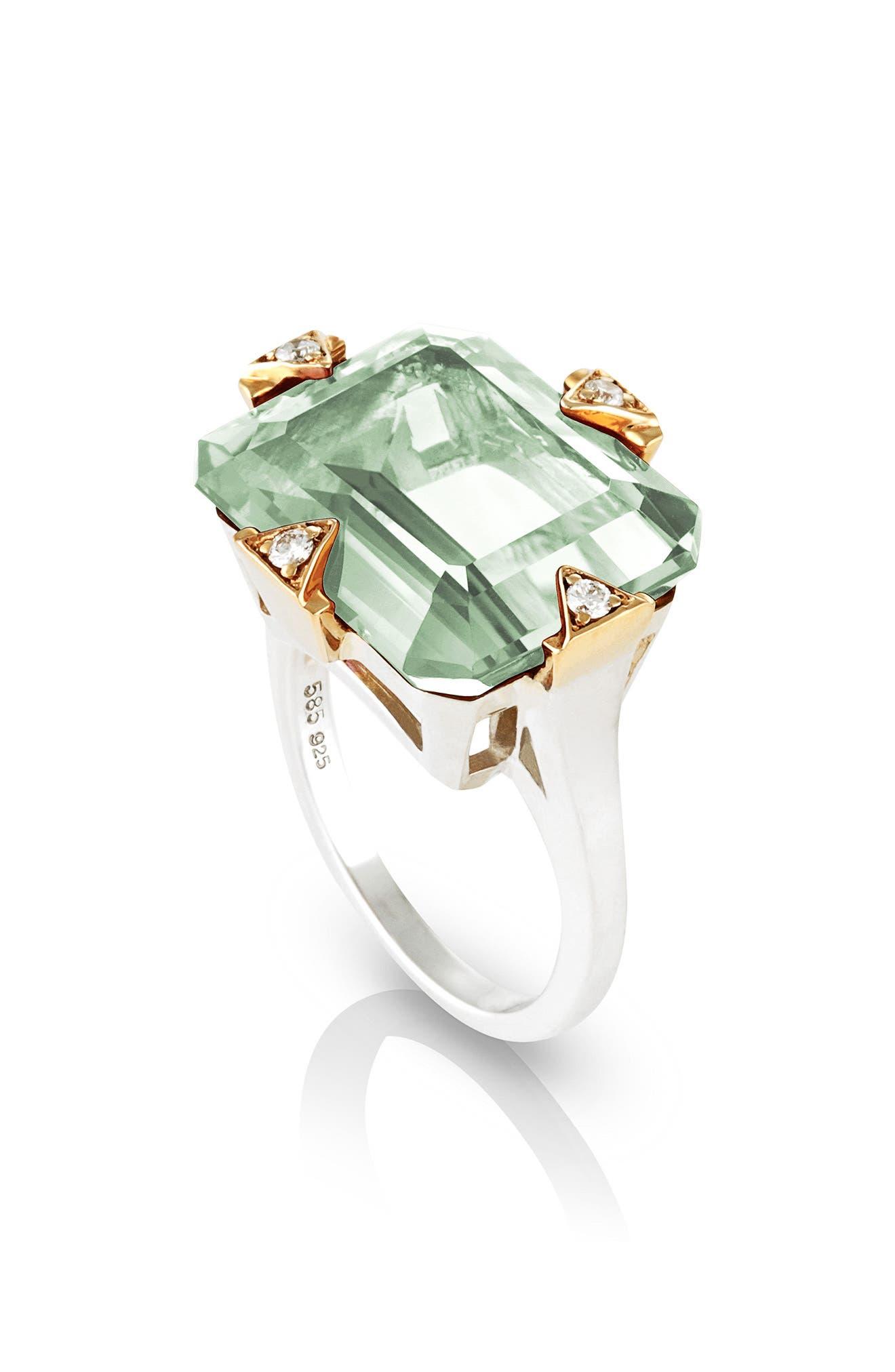 MANIAMANIA Prasiolite Cocktail Ring with Diamonds, Main, color, PRASIOLITE