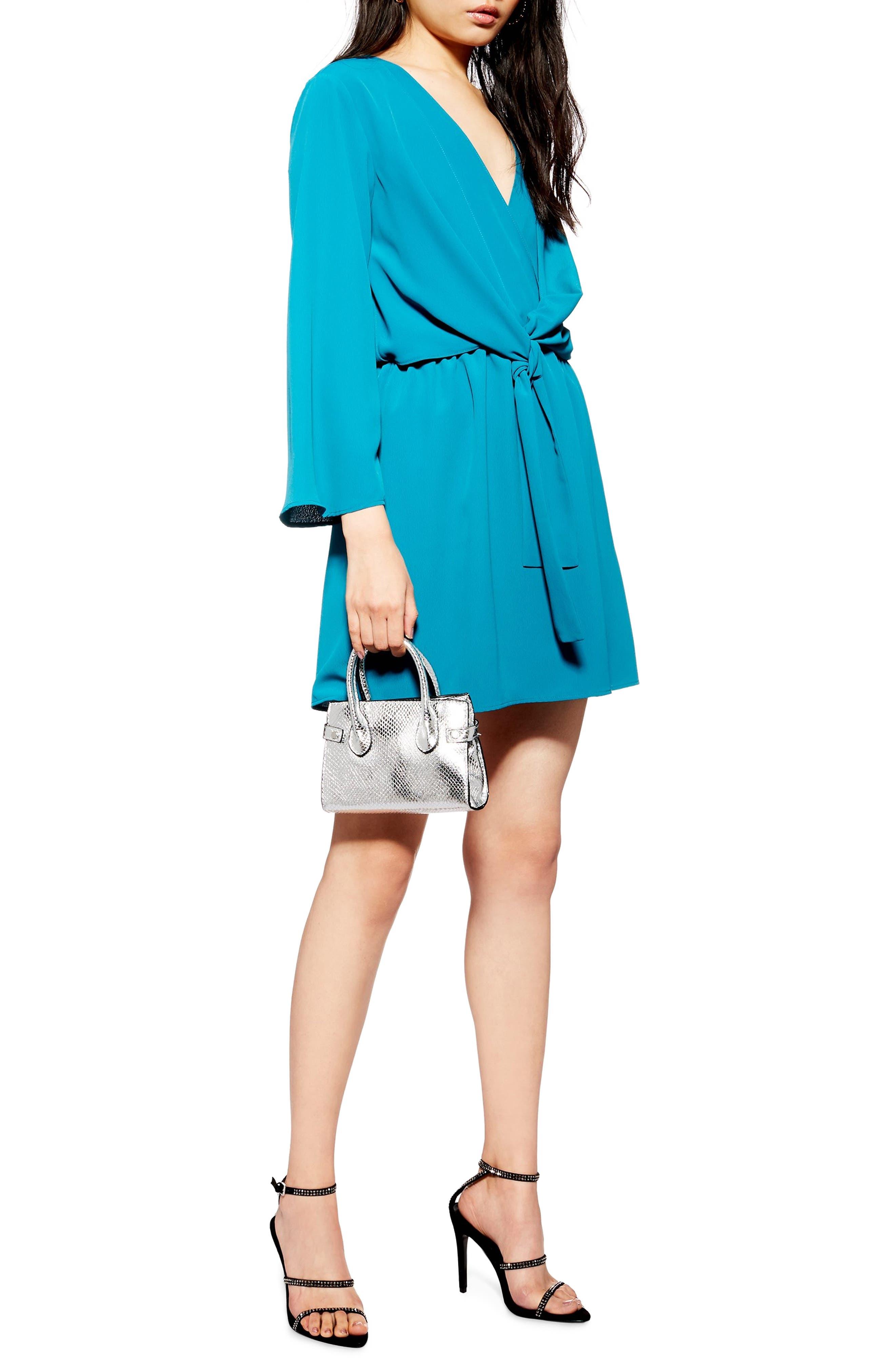 TOPSHOP, Tiffany Knot Minidress, Main thumbnail 1, color, TEAL