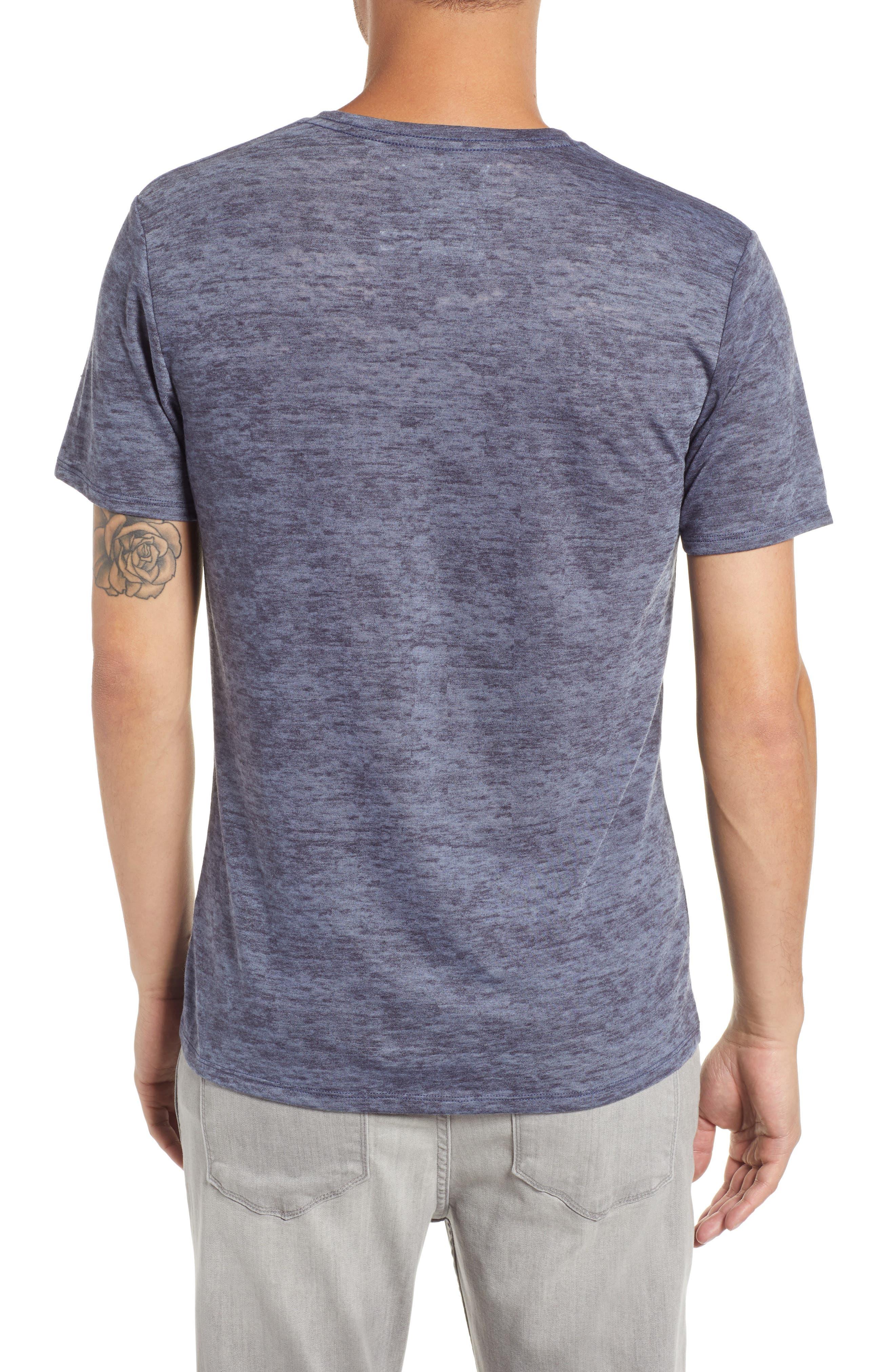 THE RAIL, Burnout V-Neck T-Shirt, Alternate thumbnail 2, color, BLUE STONEWASH - NAVY BURNOUT