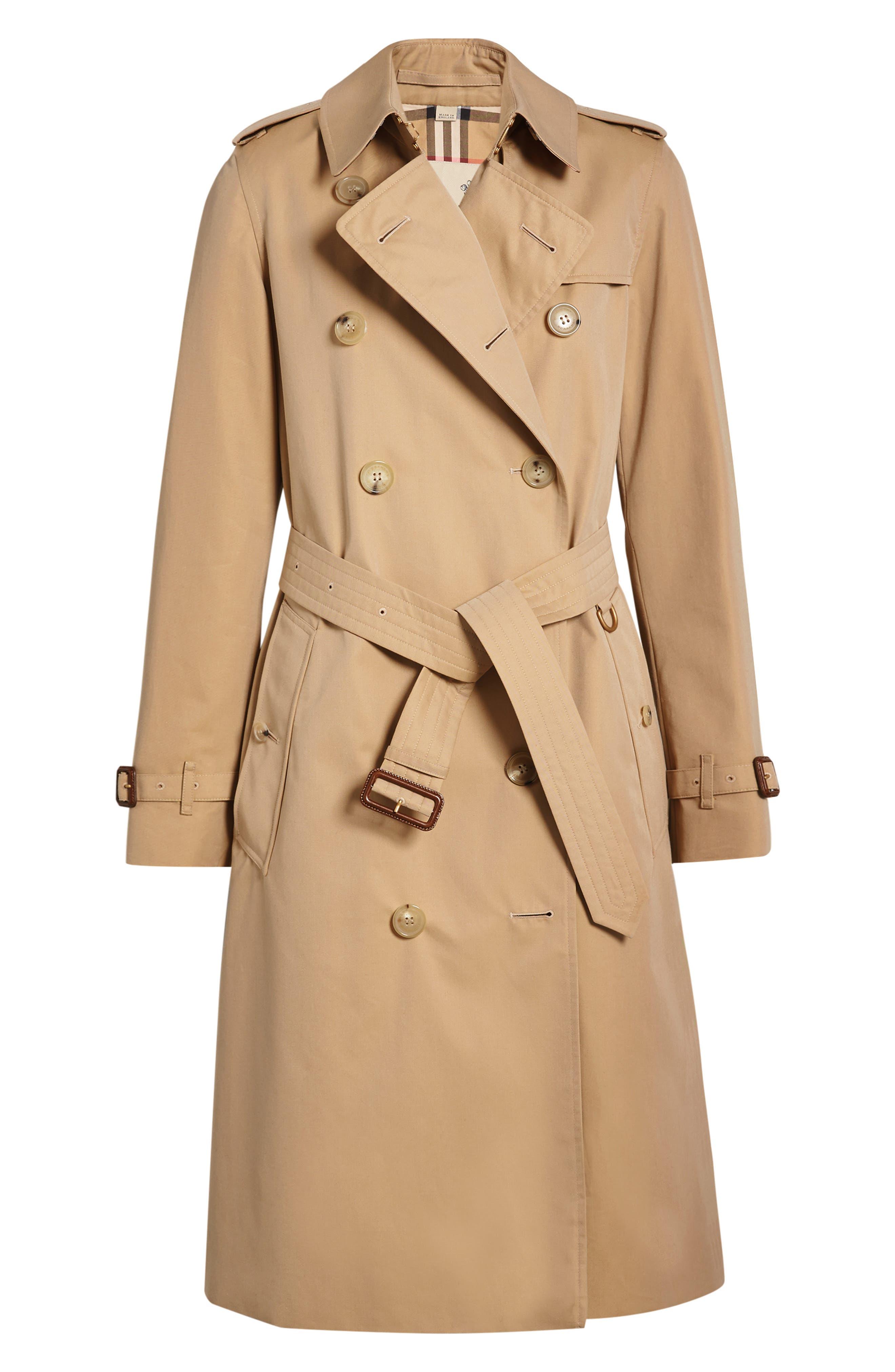 BURBERRY, Kensington Long Trench Coat, Alternate thumbnail 4, color, DARK HONEY