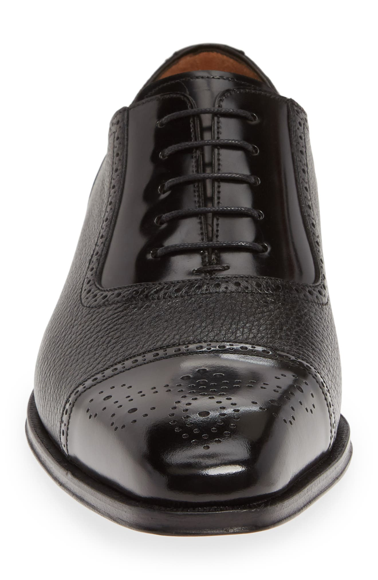 MEZLAN, Murino Medallion Toe Oxford, Alternate thumbnail 4, color, BLACK LEATHER/ DEERSKIN