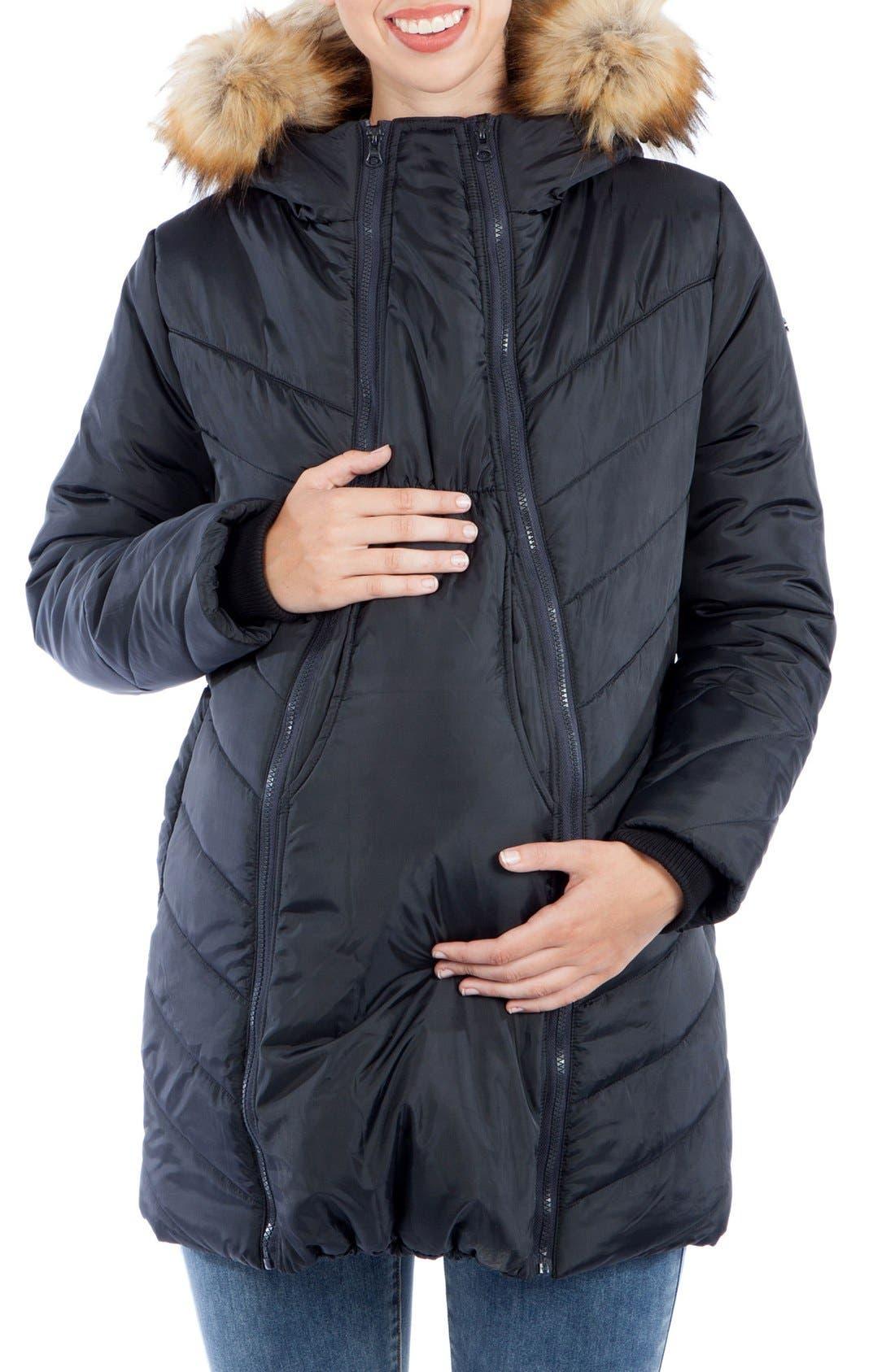 MODERN ETERNITY, Faux Fur Trim Convertible Puffer 3-in-1 Maternity Jacket, Alternate thumbnail 10, color, BLACK