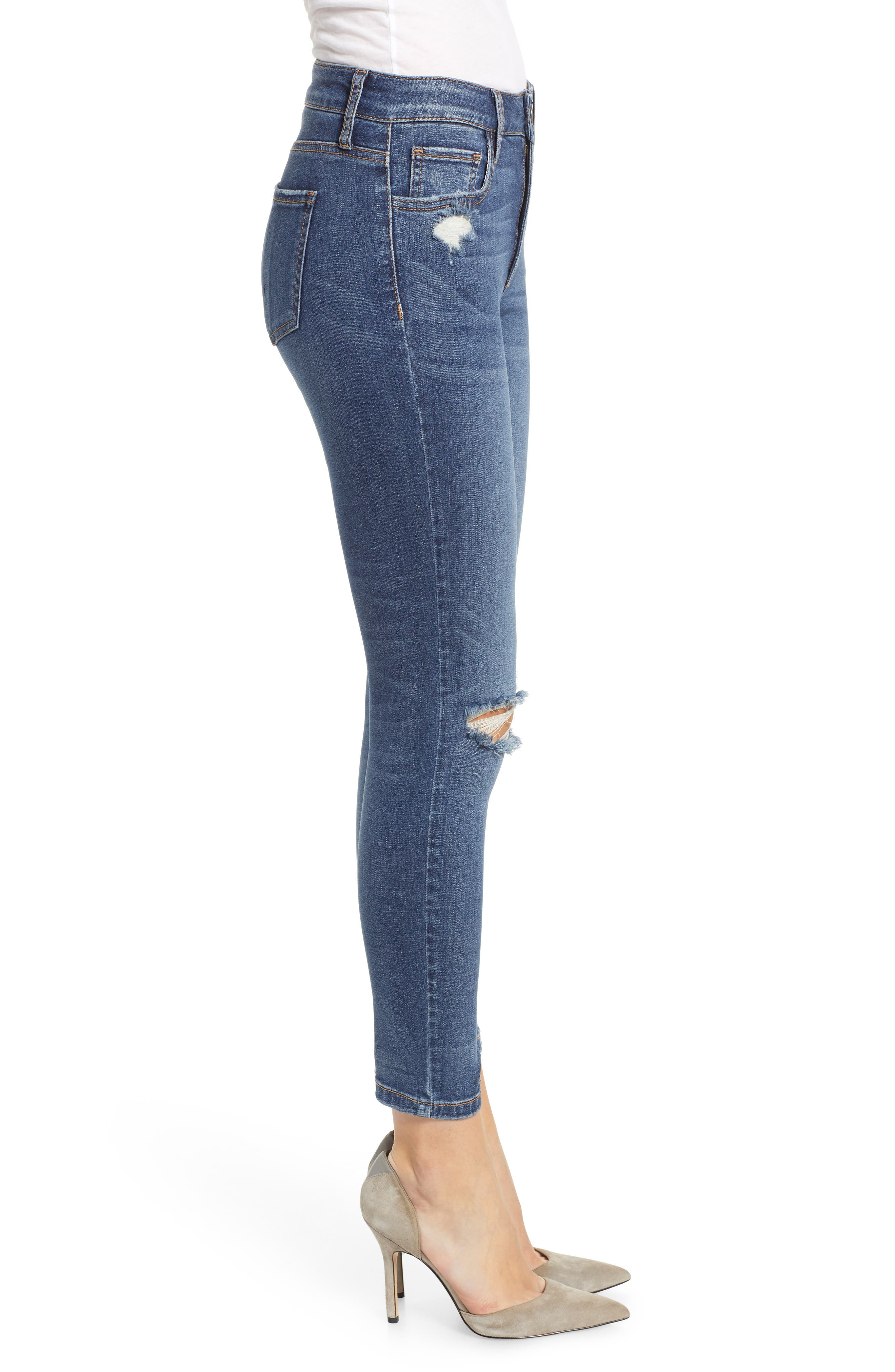 PROSPERITY DENIM, Ripped High Waist Skinny Jeans, Alternate thumbnail 4, color, RAYA WASH