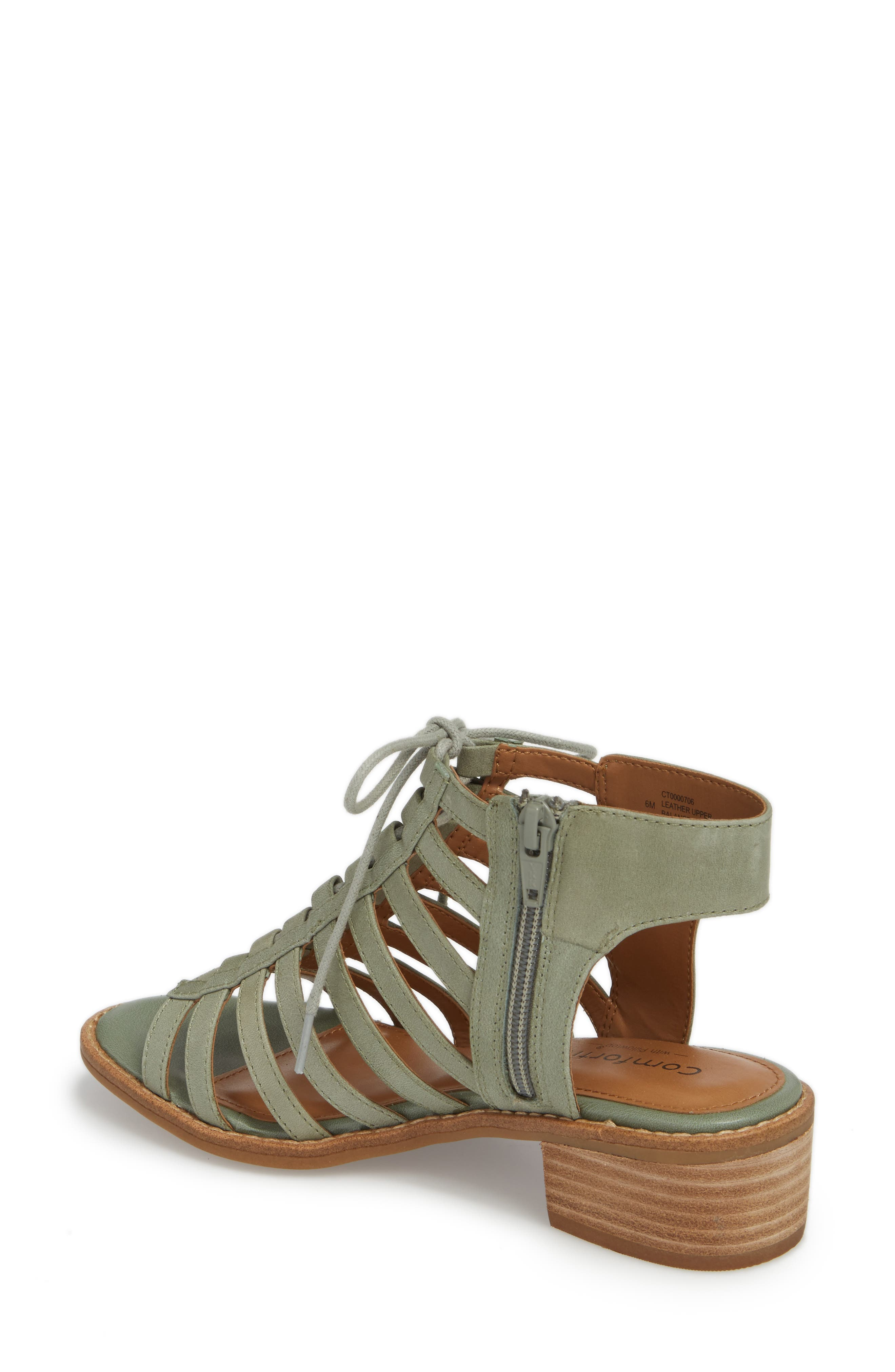 COMFORTIVA, Blossom Sandal, Alternate thumbnail 2, color, SAGE LEATHER