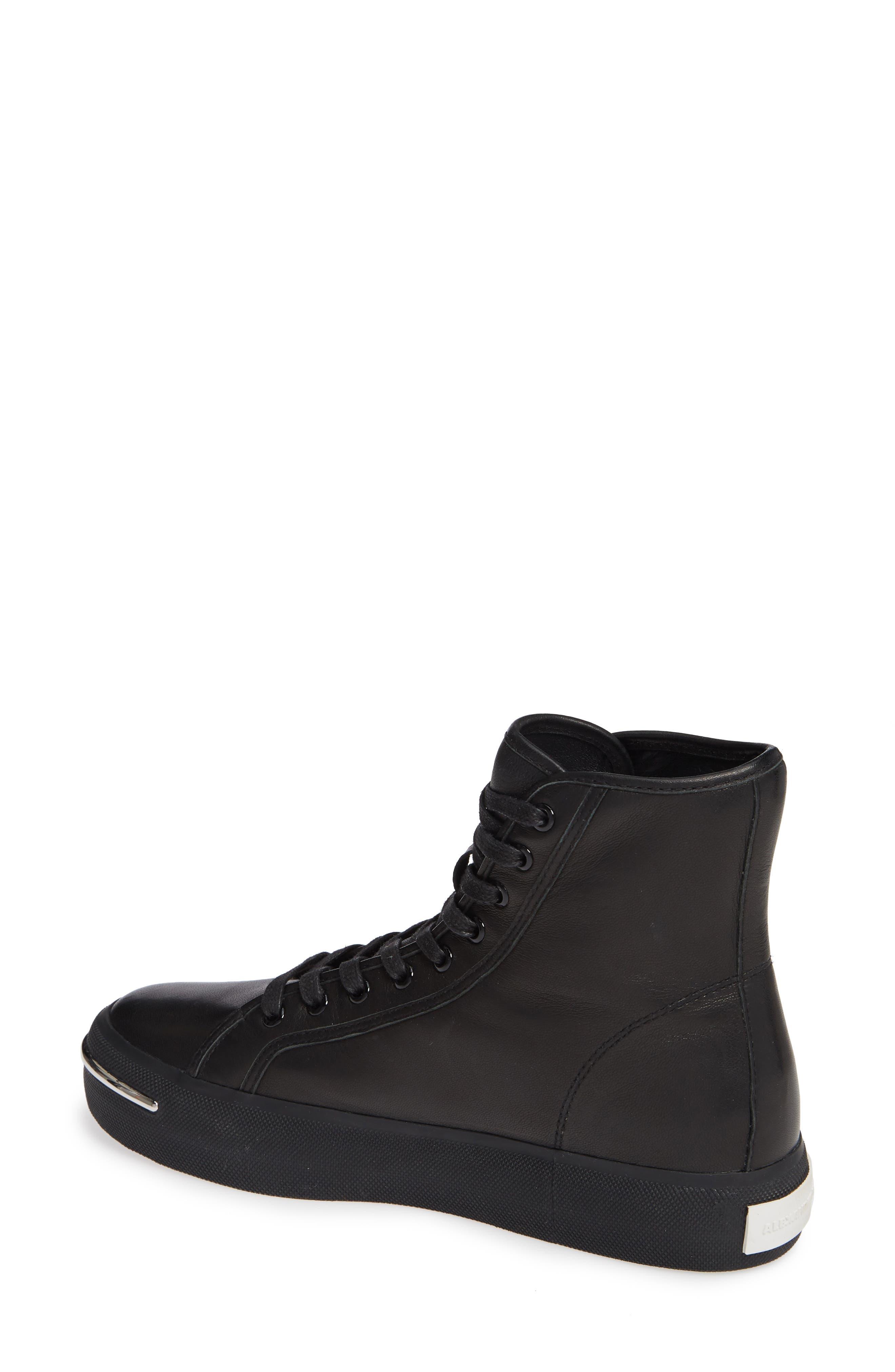 ALEXANDER WANG, Pia High Top Sneaker, Alternate thumbnail 2, color, BLACK