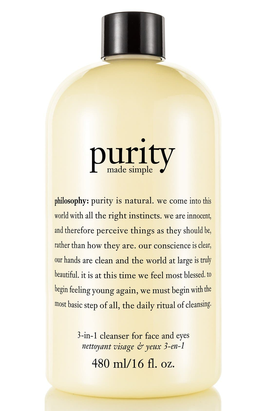 PHILOSOPHY, 'purity made simple' one-step facial cleanser, Main thumbnail 1, color, NO COLOR