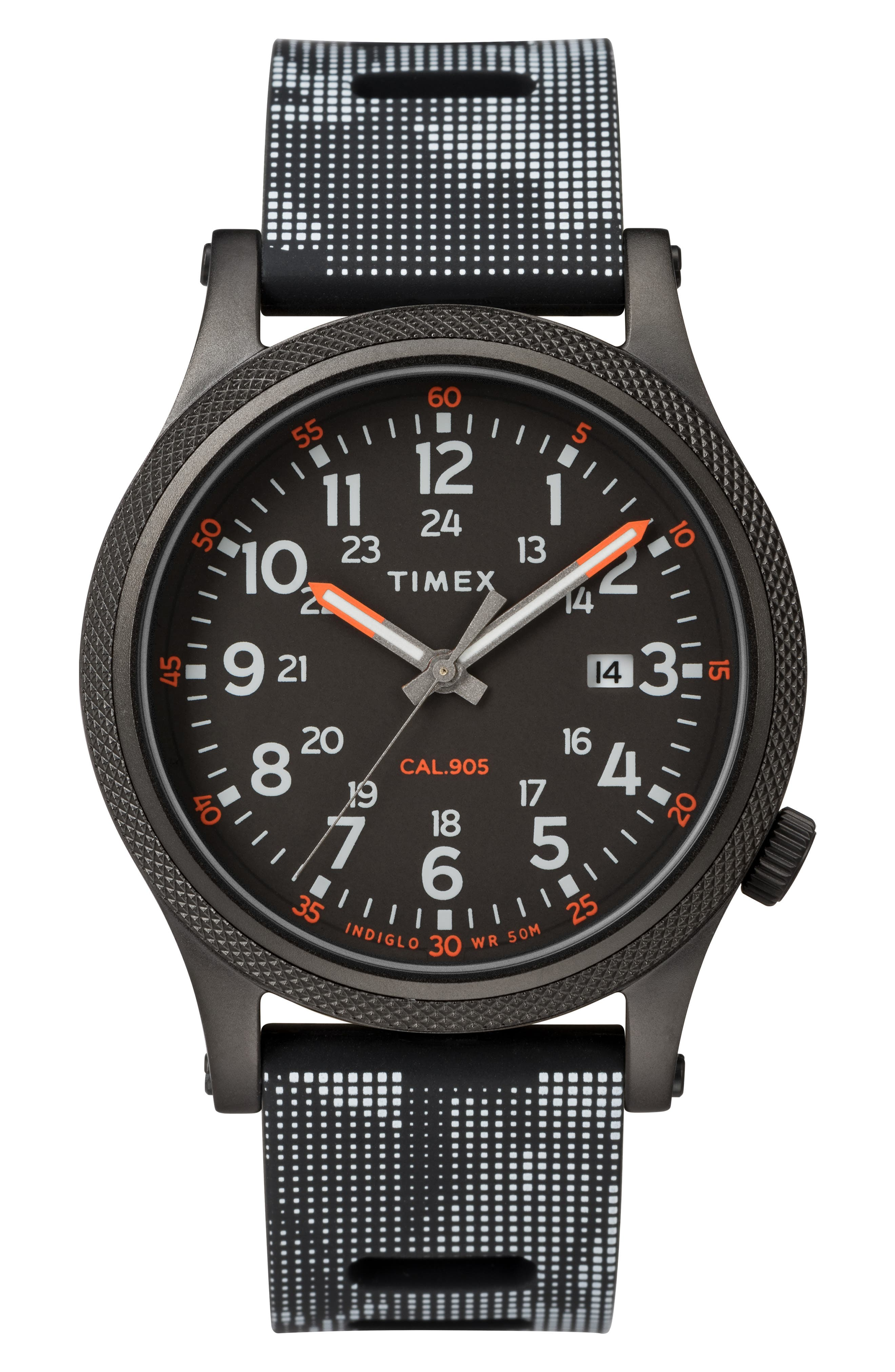 TIMEX<SUP>®</SUP>, Allied Silicone Strap Watch, 40mm, Main thumbnail 1, color, BLACK