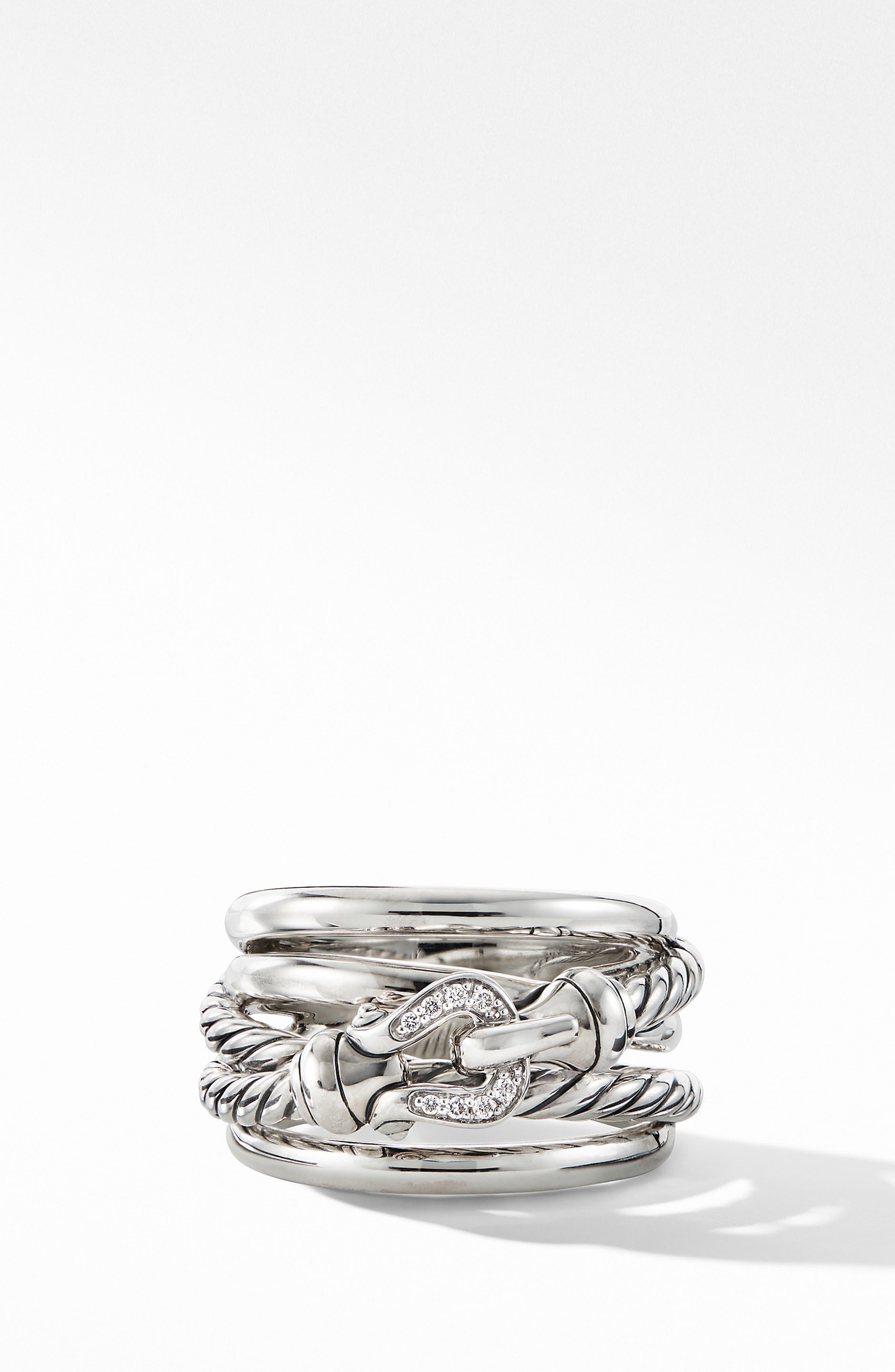 DAVID YURMAN, Buckle Ring with Diamonds, Alternate thumbnail 3, color, SILVER/ DIAMOND