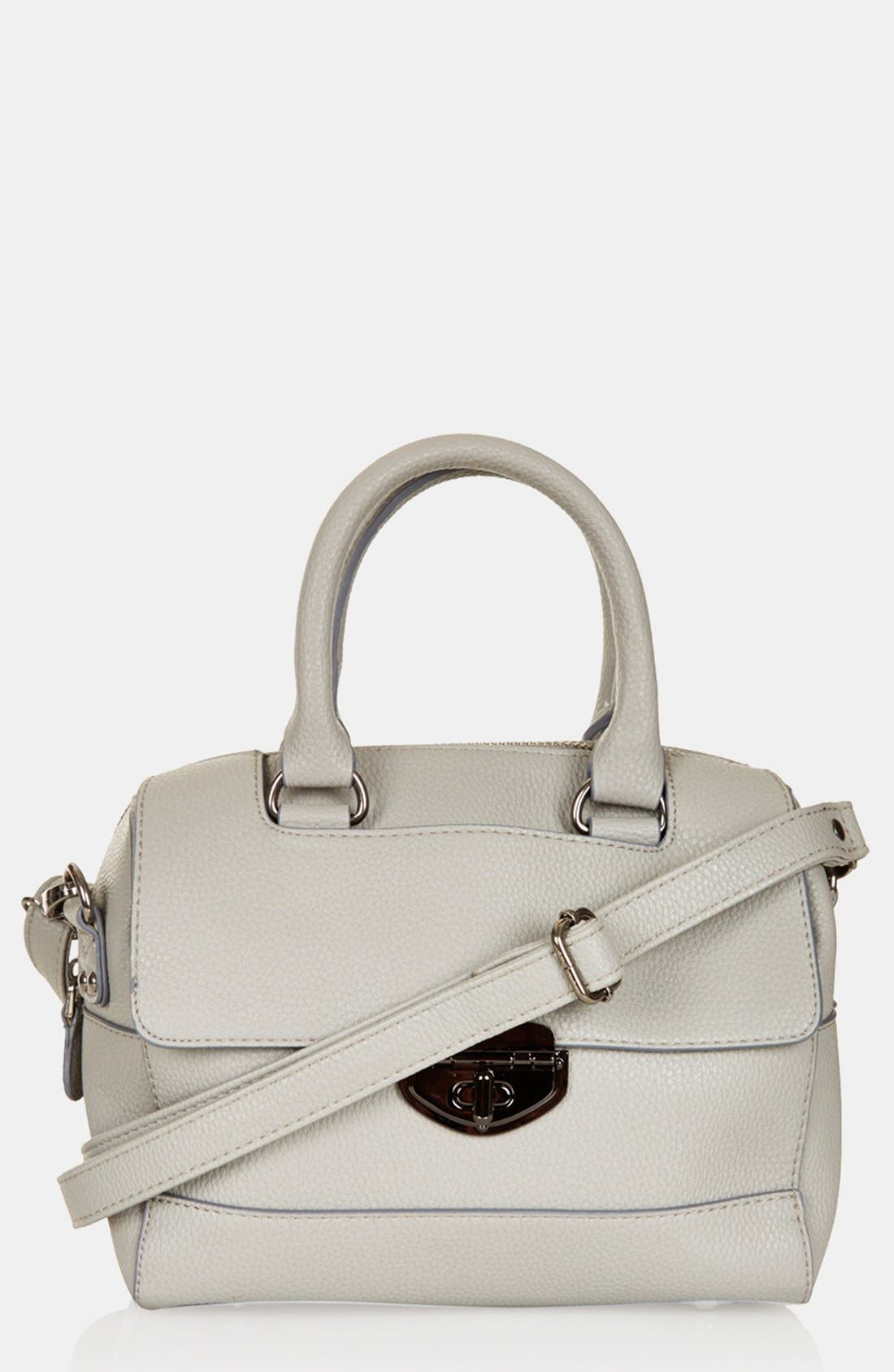 TOPSHOP, Faux Leather Mini Satchel, Main thumbnail 1, color, 020