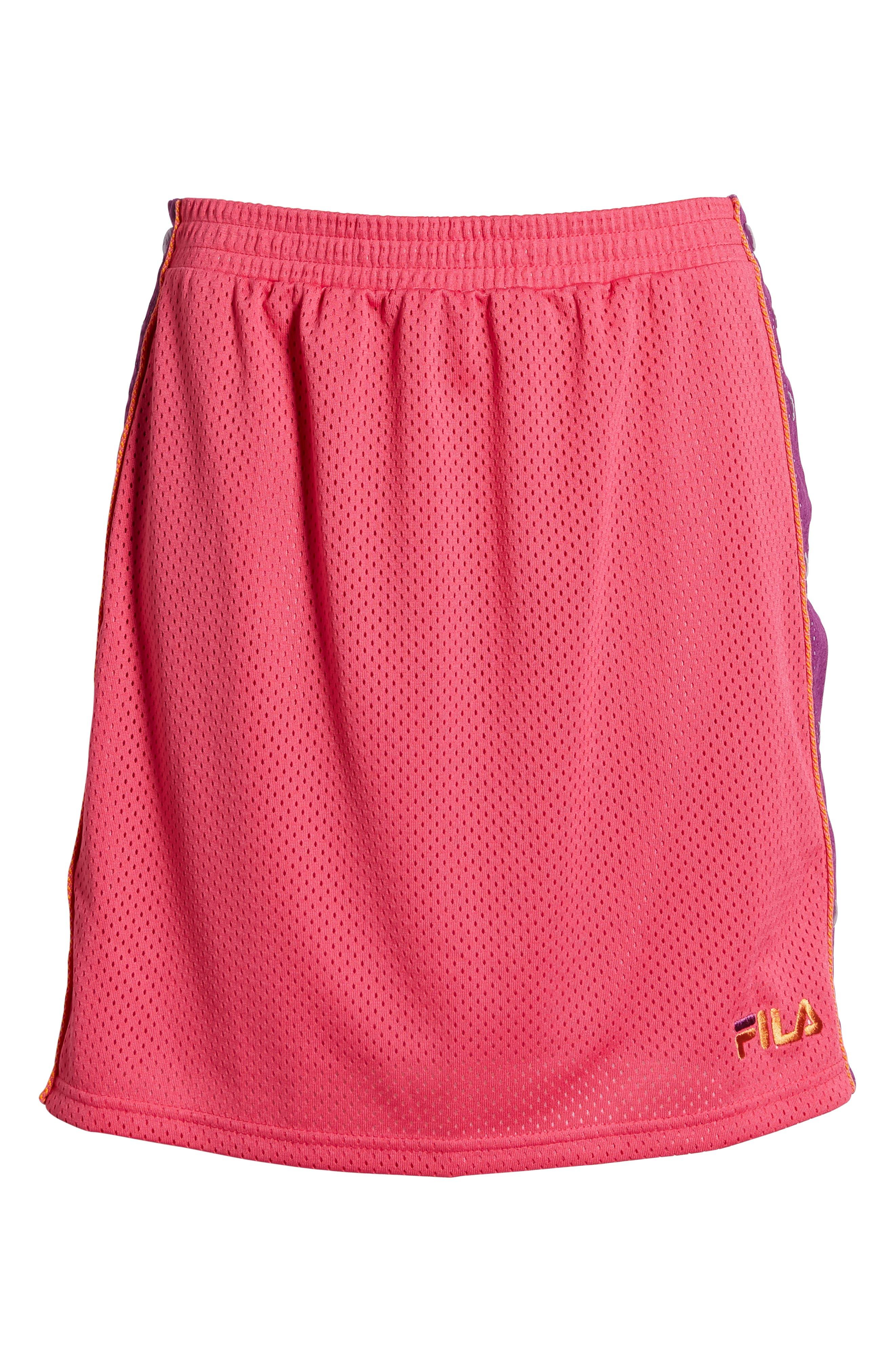 FILA, Miriam Tearaway Miniskirt, Alternate thumbnail 7, color, FUCHSIA PURPLE/ GRAPE/ GREEN