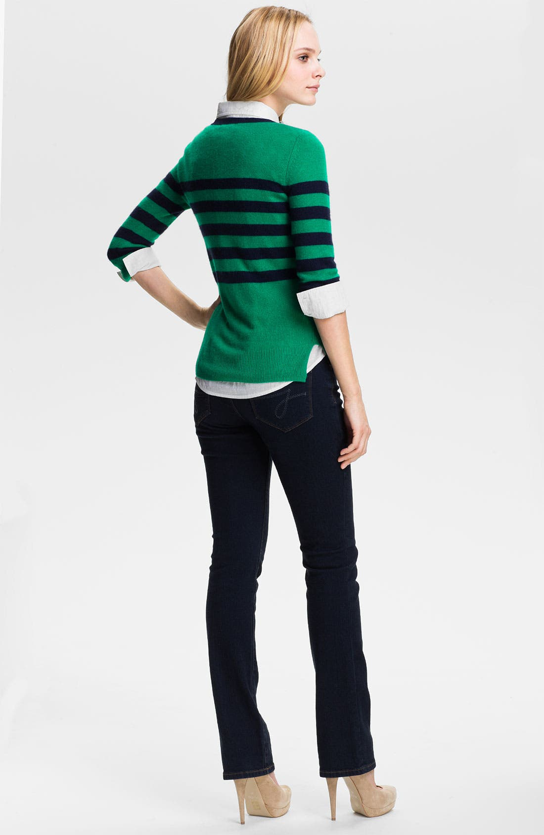 ONLY MINE, Stripe Cashmere Sweater, Alternate thumbnail 4, color, 366
