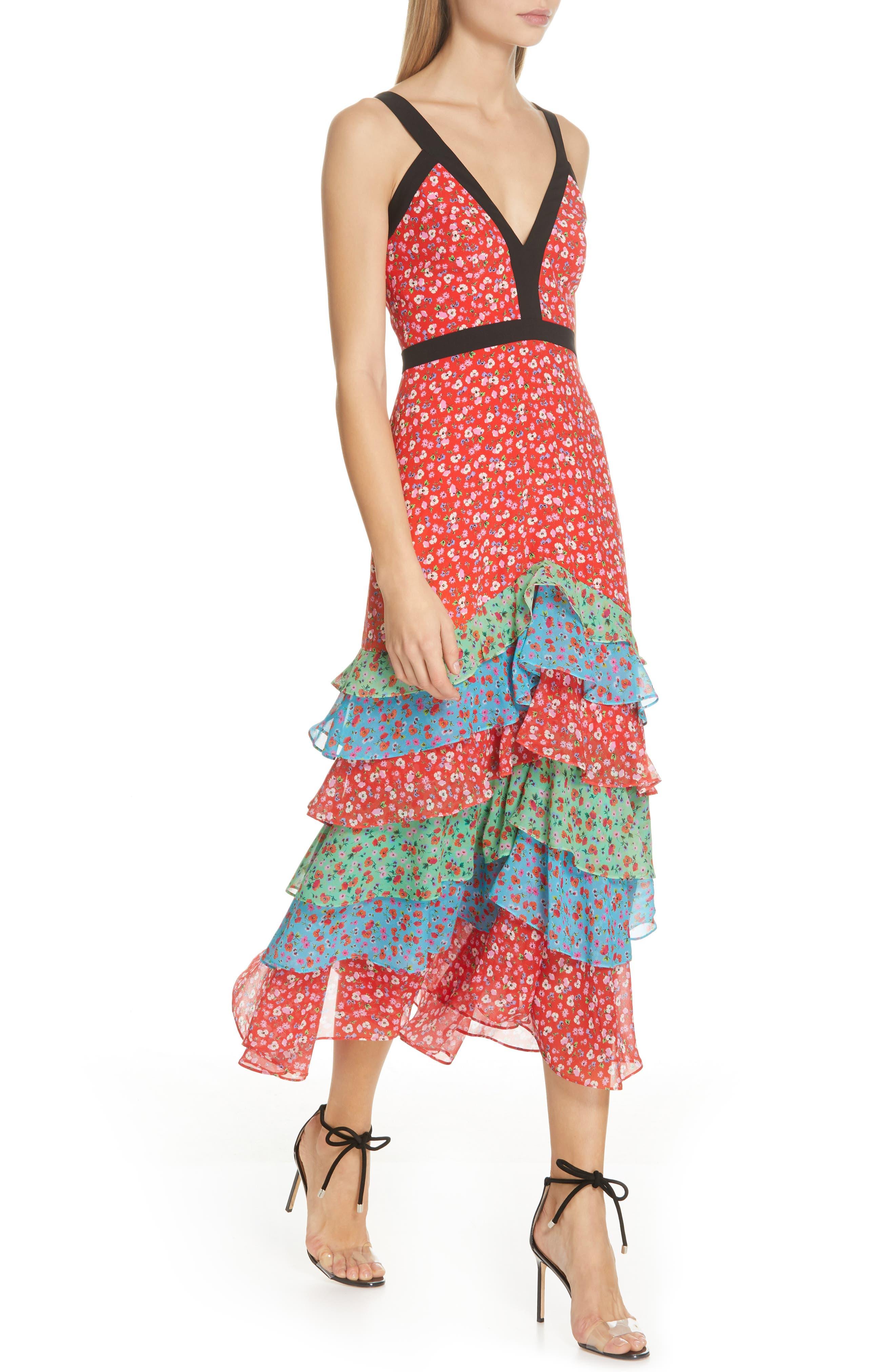 SALONI, Lana Tiered Hem Silk Midi Dress, Alternate thumbnail 4, color, ANENOME