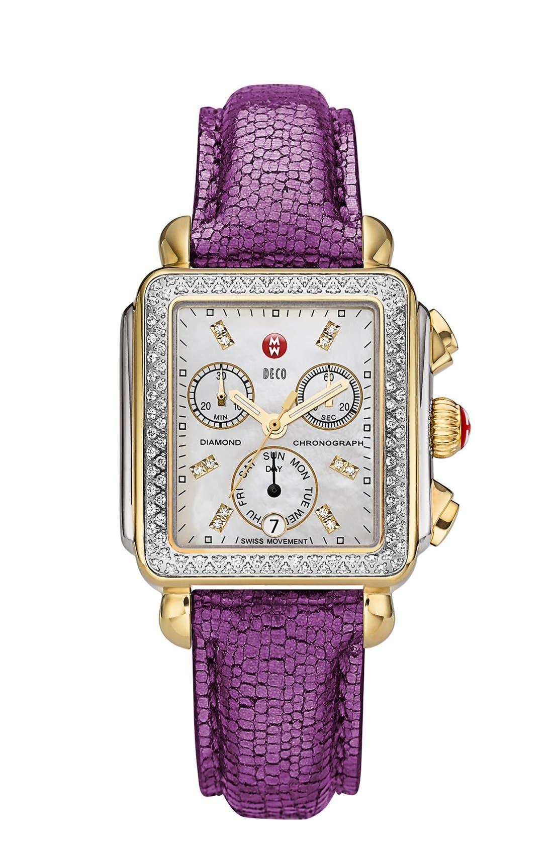 MICHELE, Deco Diamond Diamond Dial Two-Tone Watch Case, 33mm x 35mm, Alternate thumbnail 5, color, SILVER/ GOLD