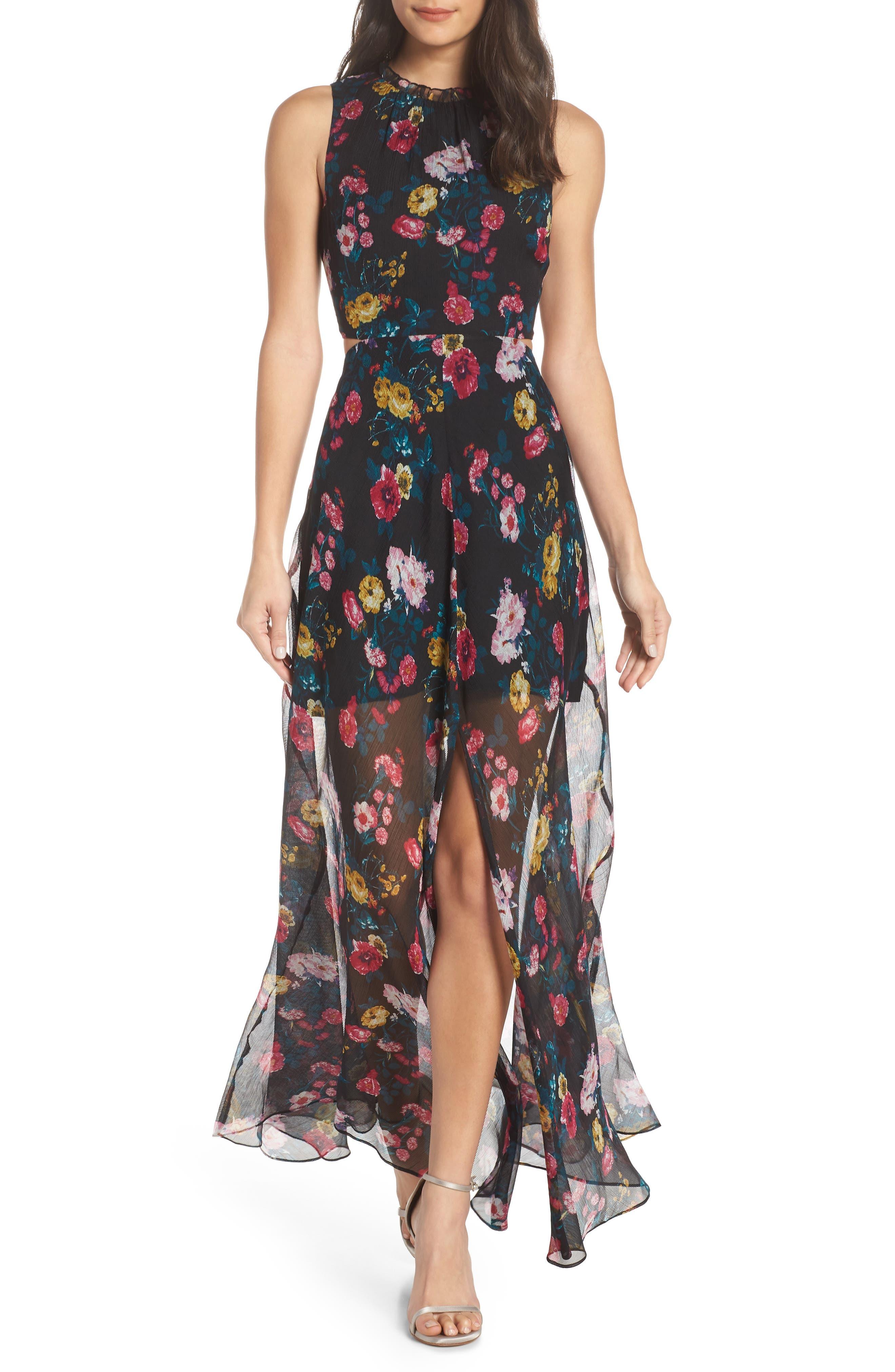ALI & JAY, I've Got Wings Floral Chiffon Maxi Dress, Main thumbnail 1, color, 001