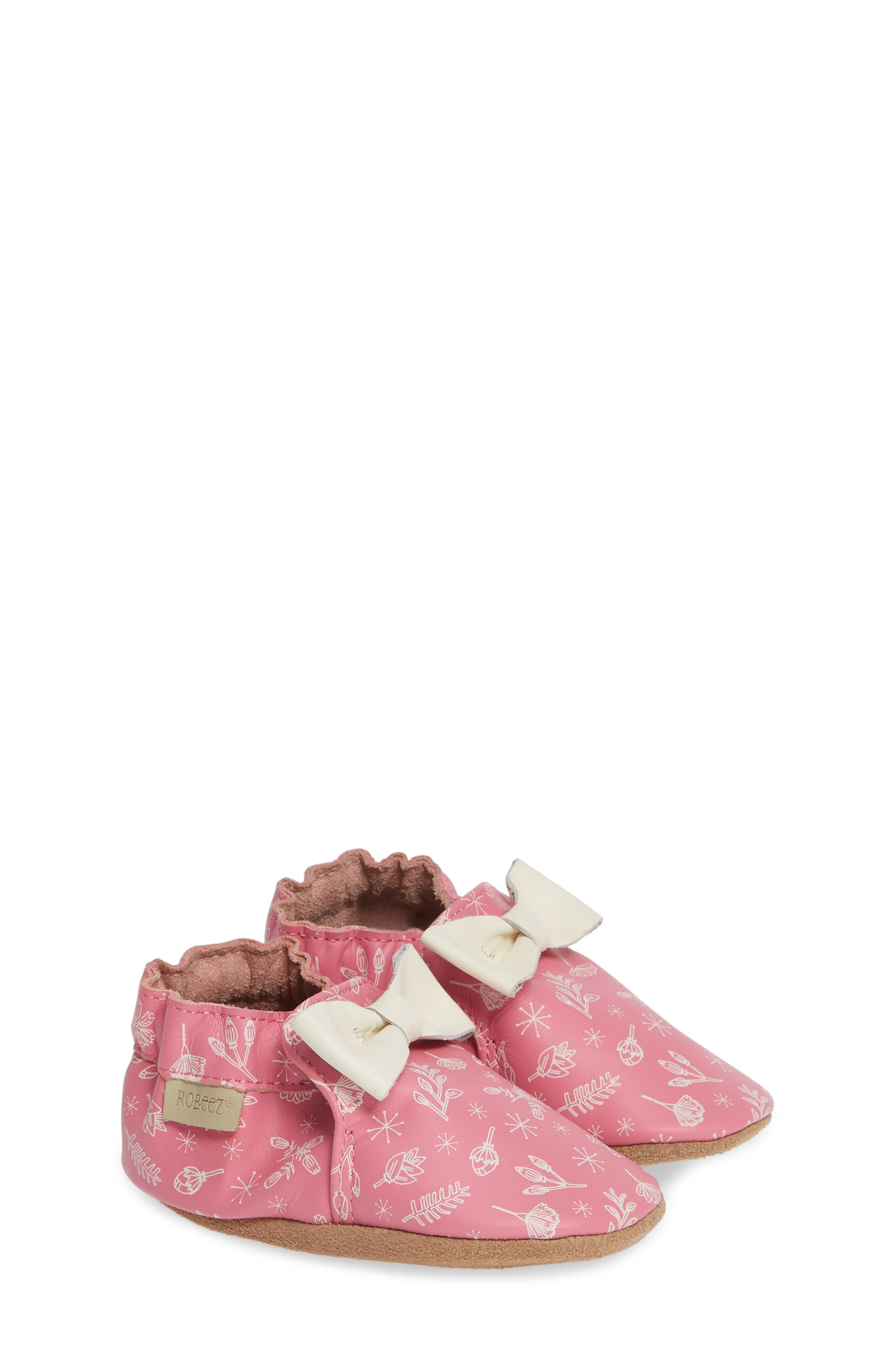 ROBEEZ<SUP>®</SUP>, Francesca Floral Crib Shoe, Alternate thumbnail 2, color, PINK