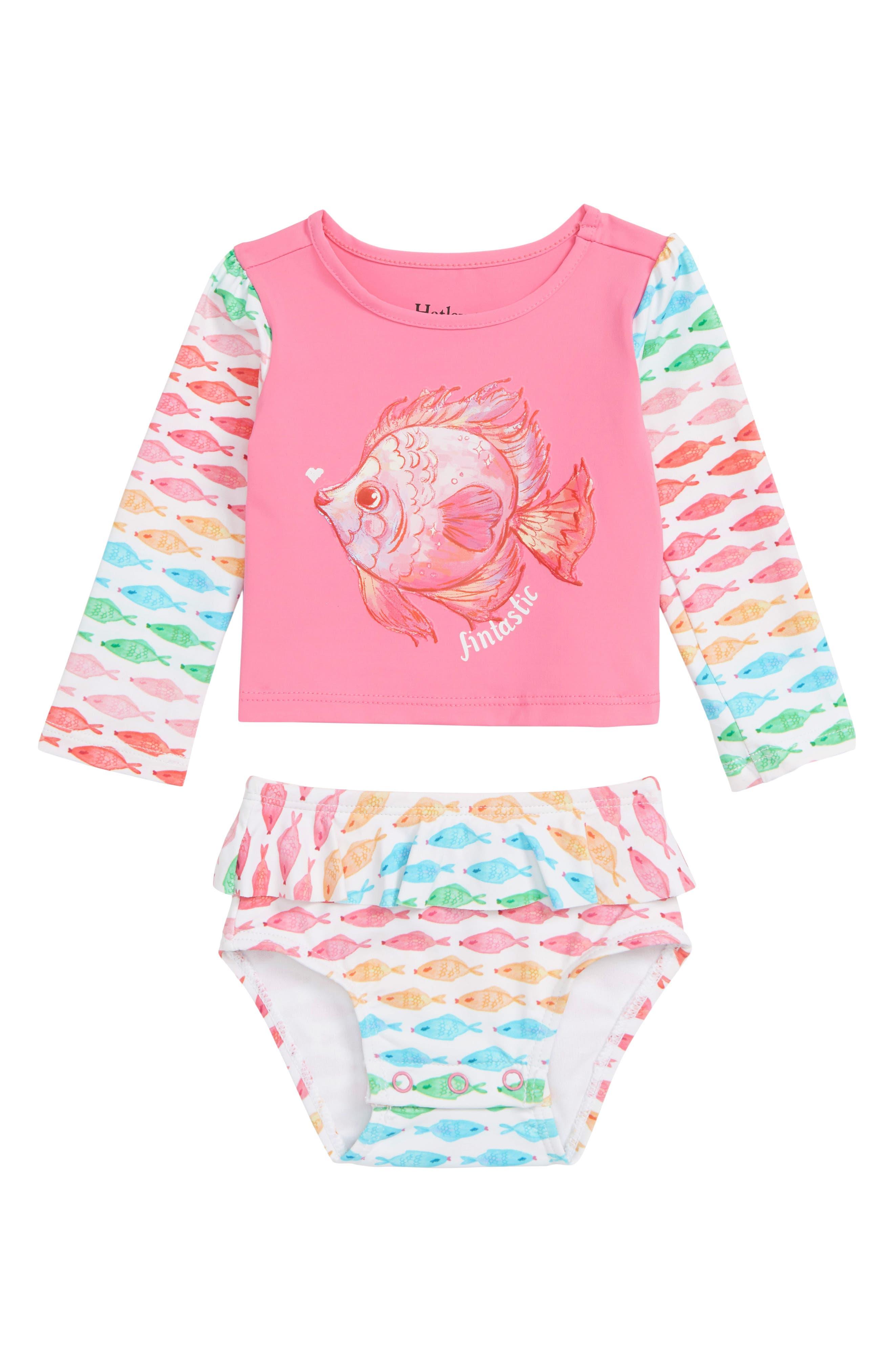 HATLEY, Watercolor Fishies Two-Piece Rashguard Swimsuit, Main thumbnail 1, color, PINK